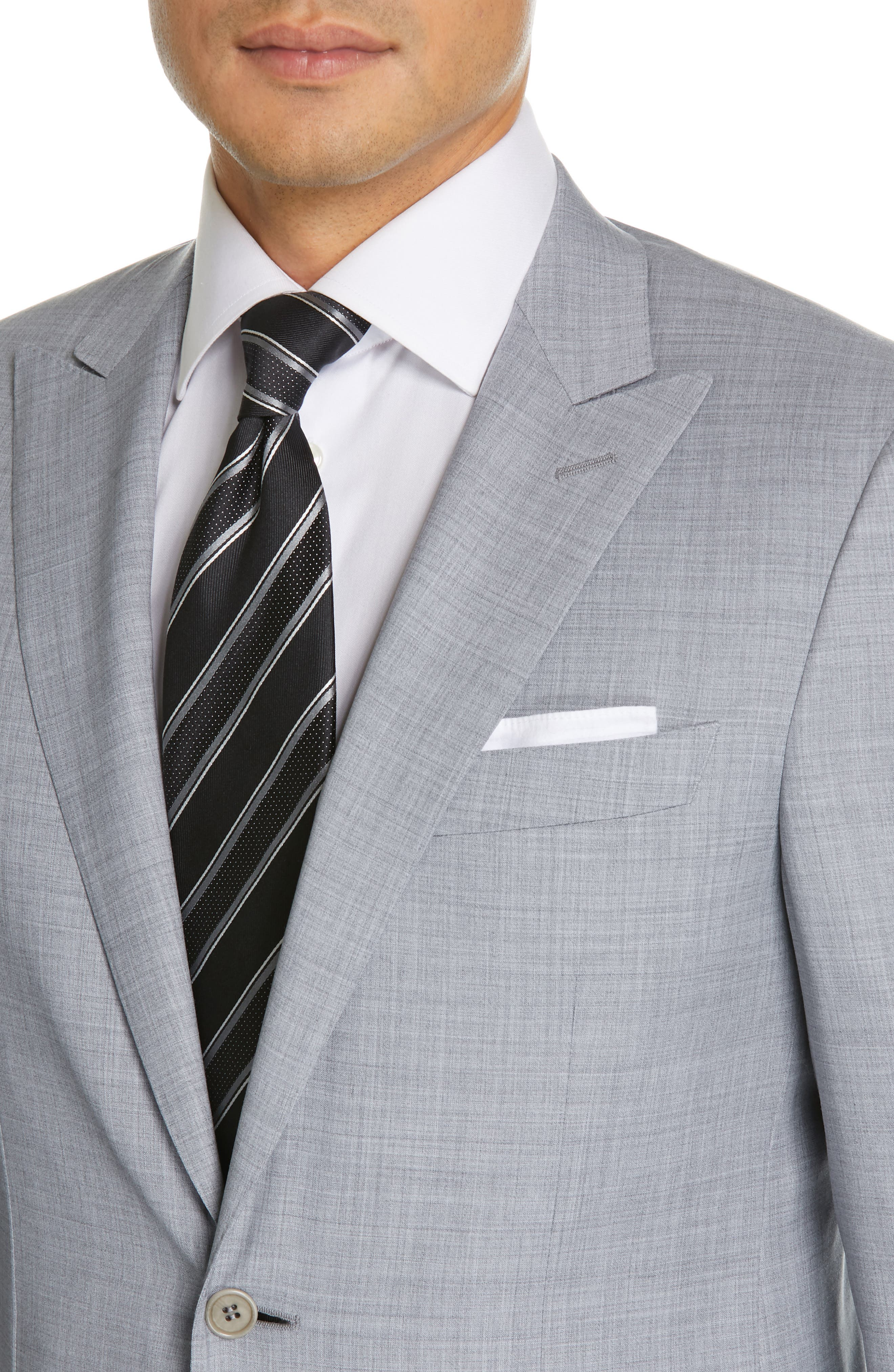 CANALI, Milano Classic Fit Solid Wool Suit, Alternate thumbnail 4, color, LIGHT GREY