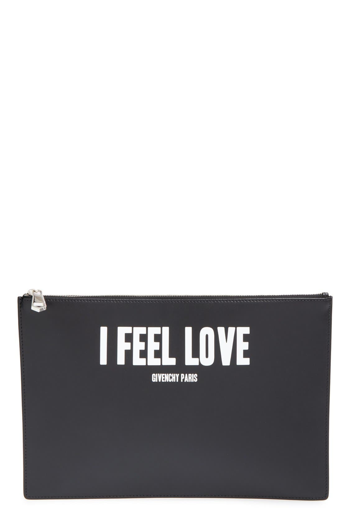 GIVENCHY, 'Large - I Feel Love' Calfskin Leather Pouch, Main thumbnail 1, color, 001