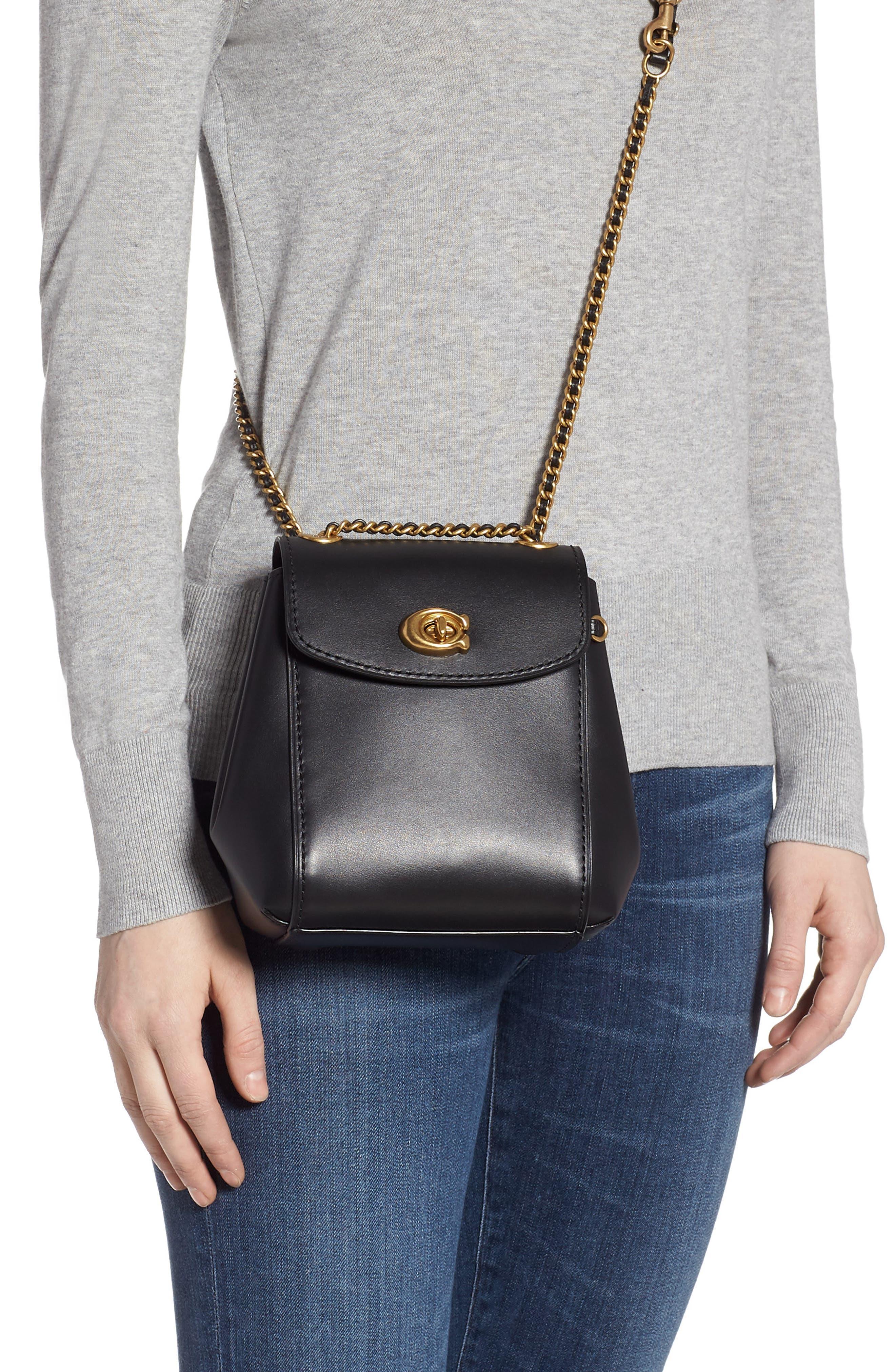 COACH, Parker 16 Convertible Calfskin Leather Backpack, Alternate thumbnail 4, color, B4/ BLACK