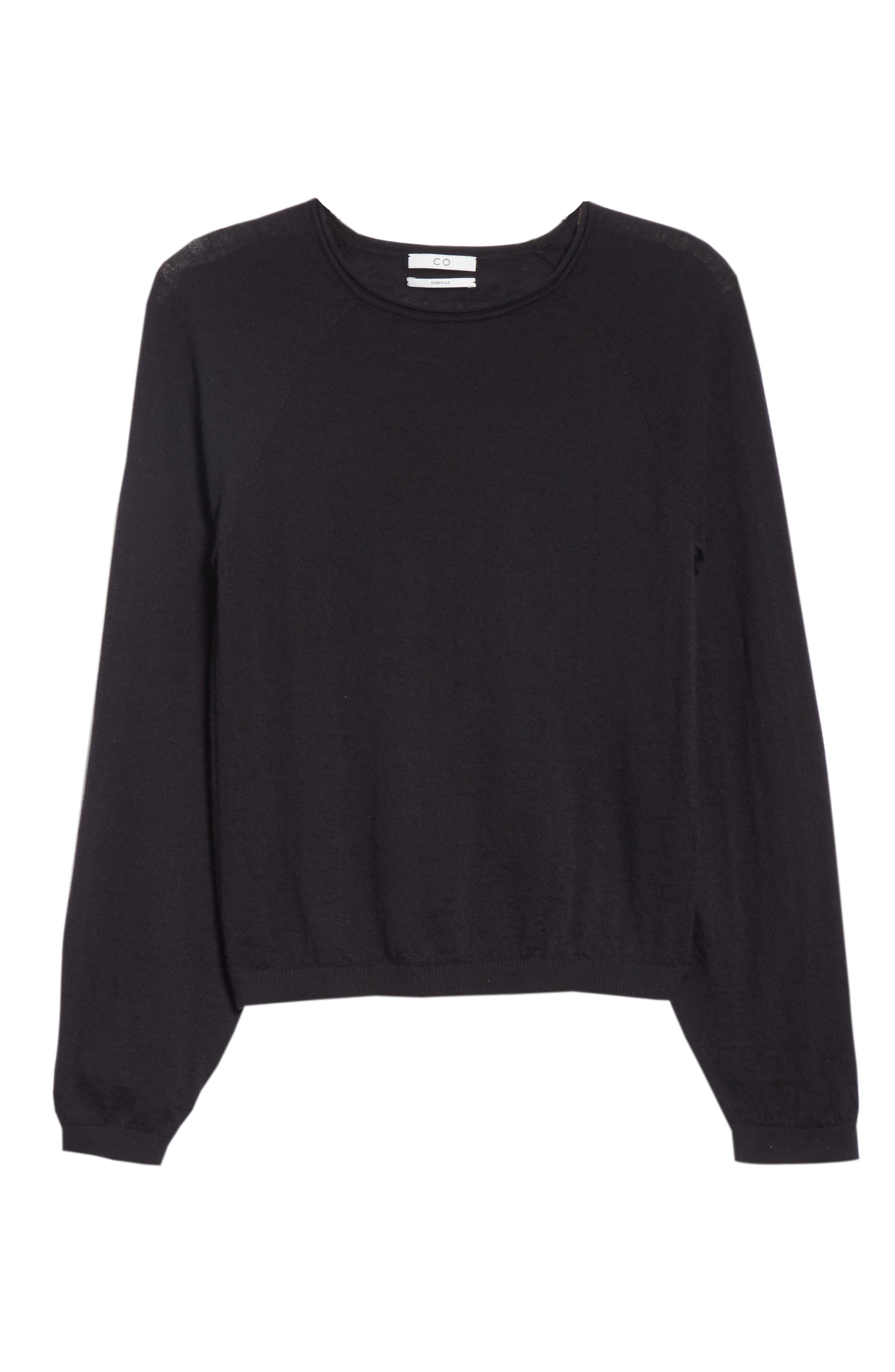 CO, Essentials Cashmere Sweater, Alternate thumbnail 6, color, BLACK