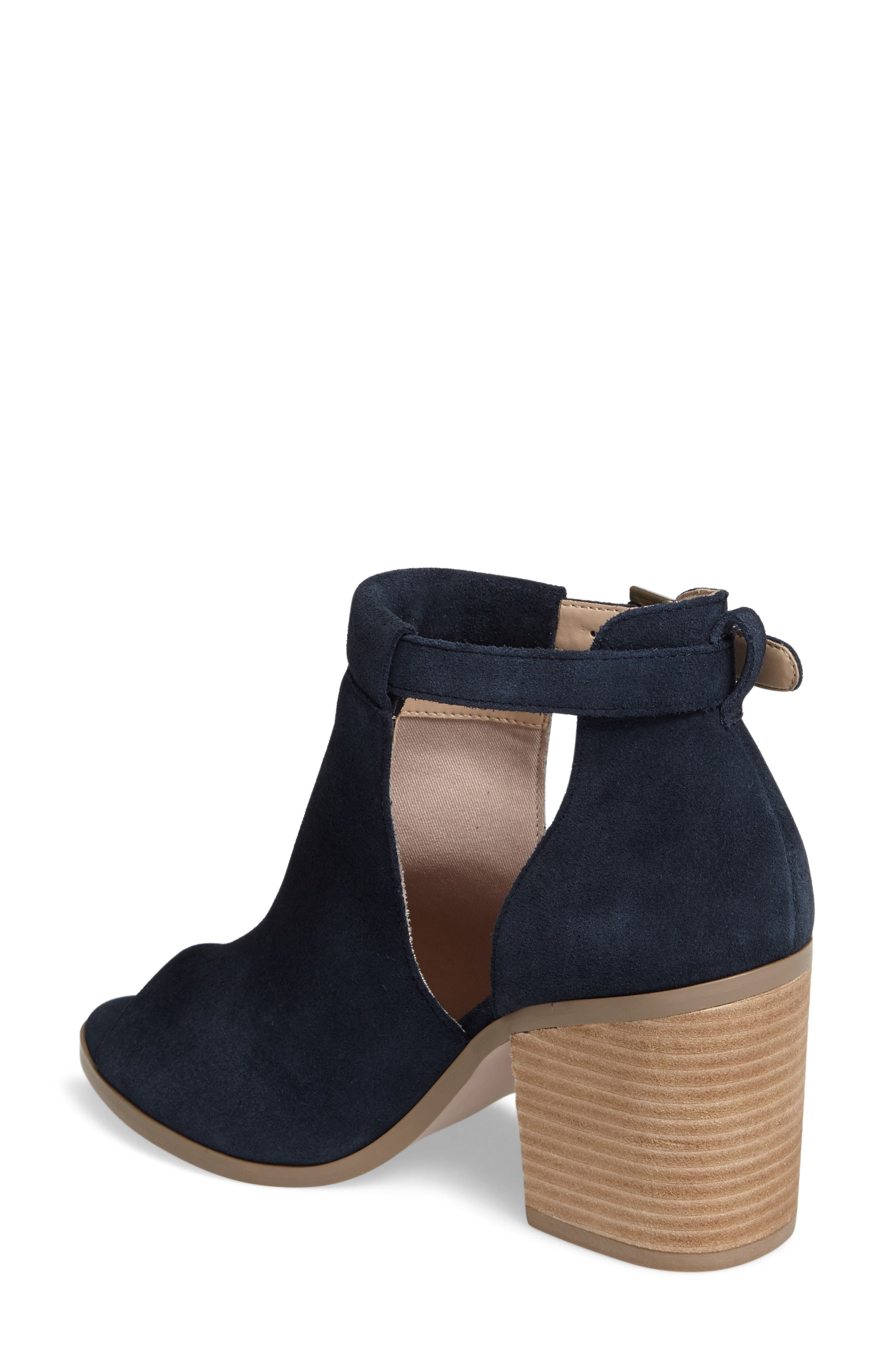SOLE SOCIETY, 'Ferris' Open Toe Bootie, Alternate thumbnail 2, color, INK SUEDE