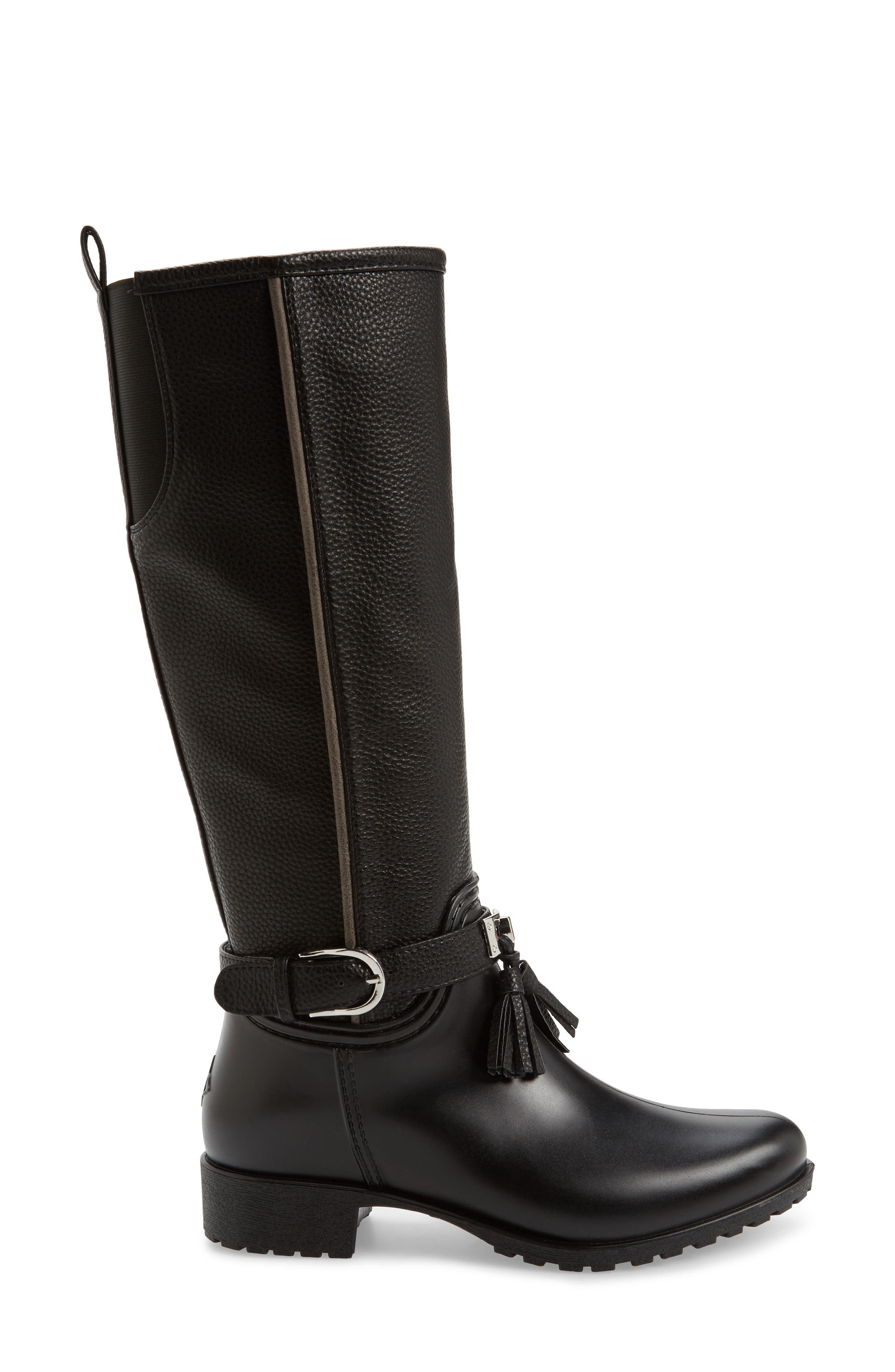 DÄV, Inverness Faux Shearling Lined Water Resistant Boot, Alternate thumbnail 3, color, BLACK