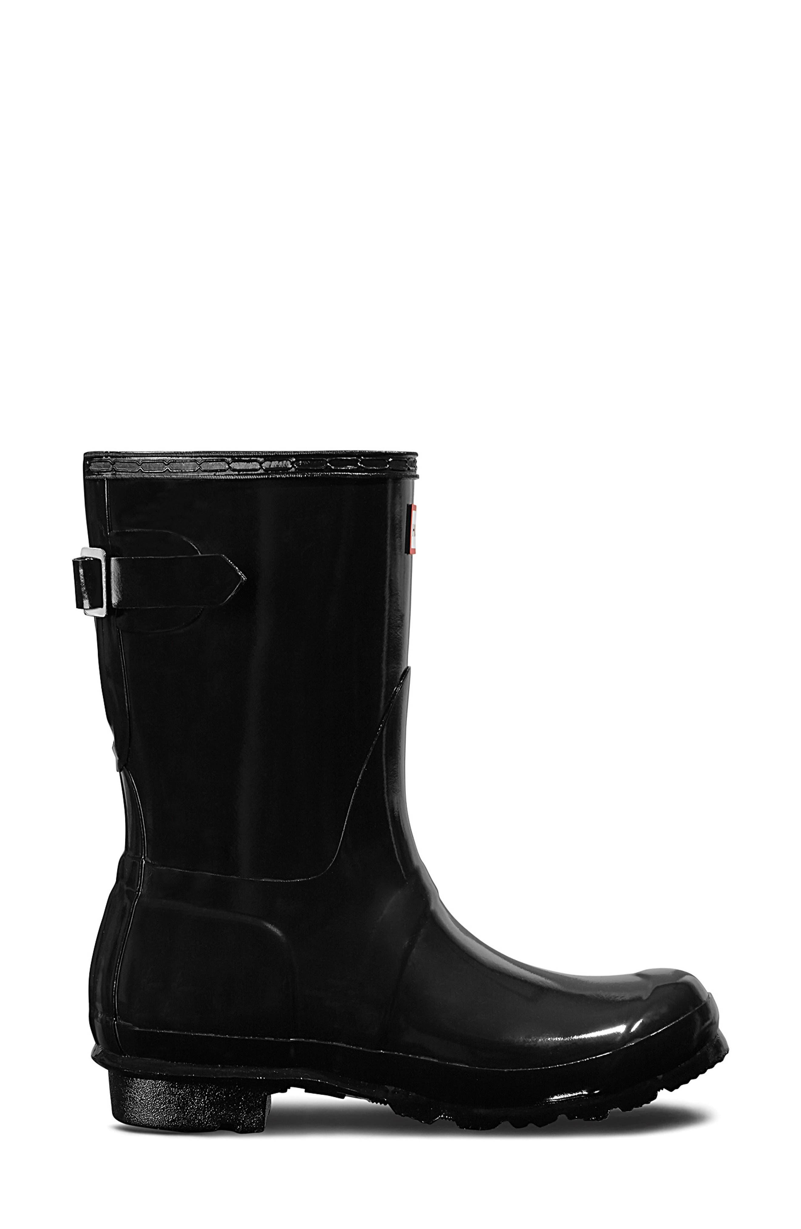 HUNTER, Original Short Adjustable Back Gloss Waterproof Rain Boot, Alternate thumbnail 3, color, BLACK