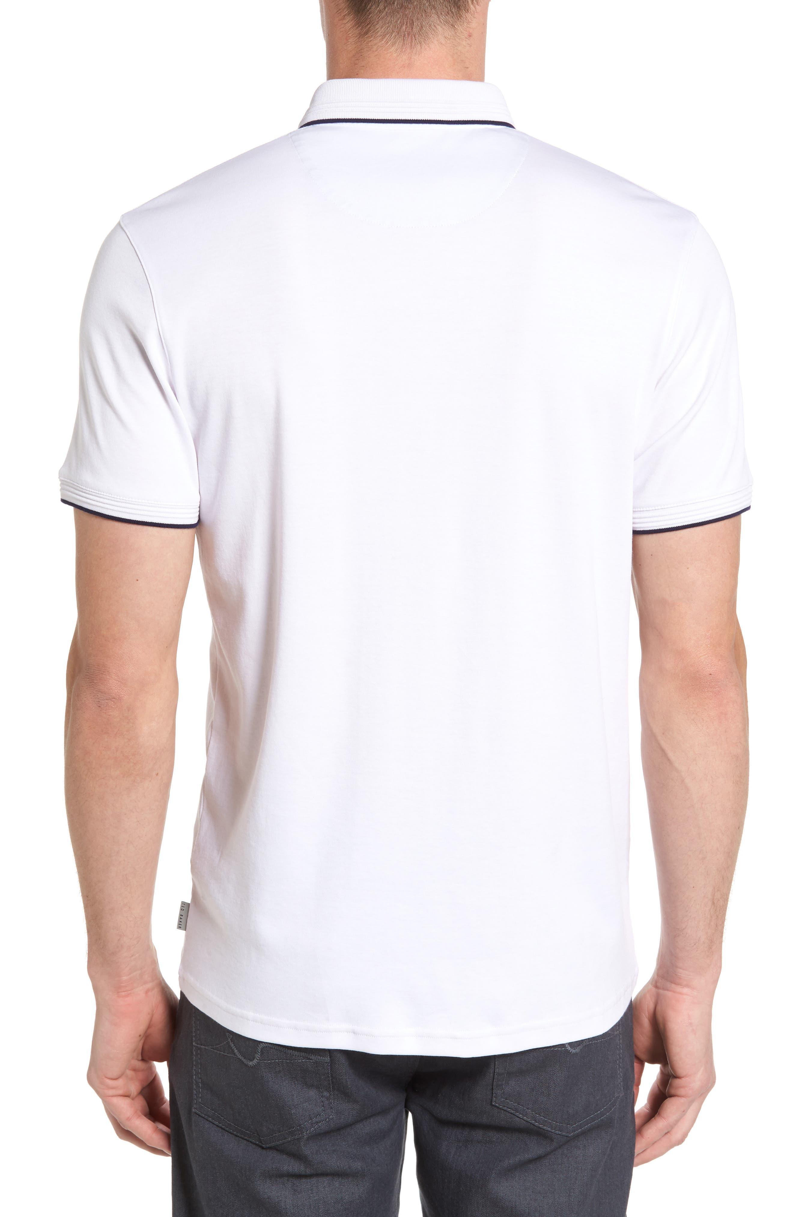 TED BAKER LONDON, Derry Modern Slim Fit Polo, Alternate thumbnail 2, color, WHITE
