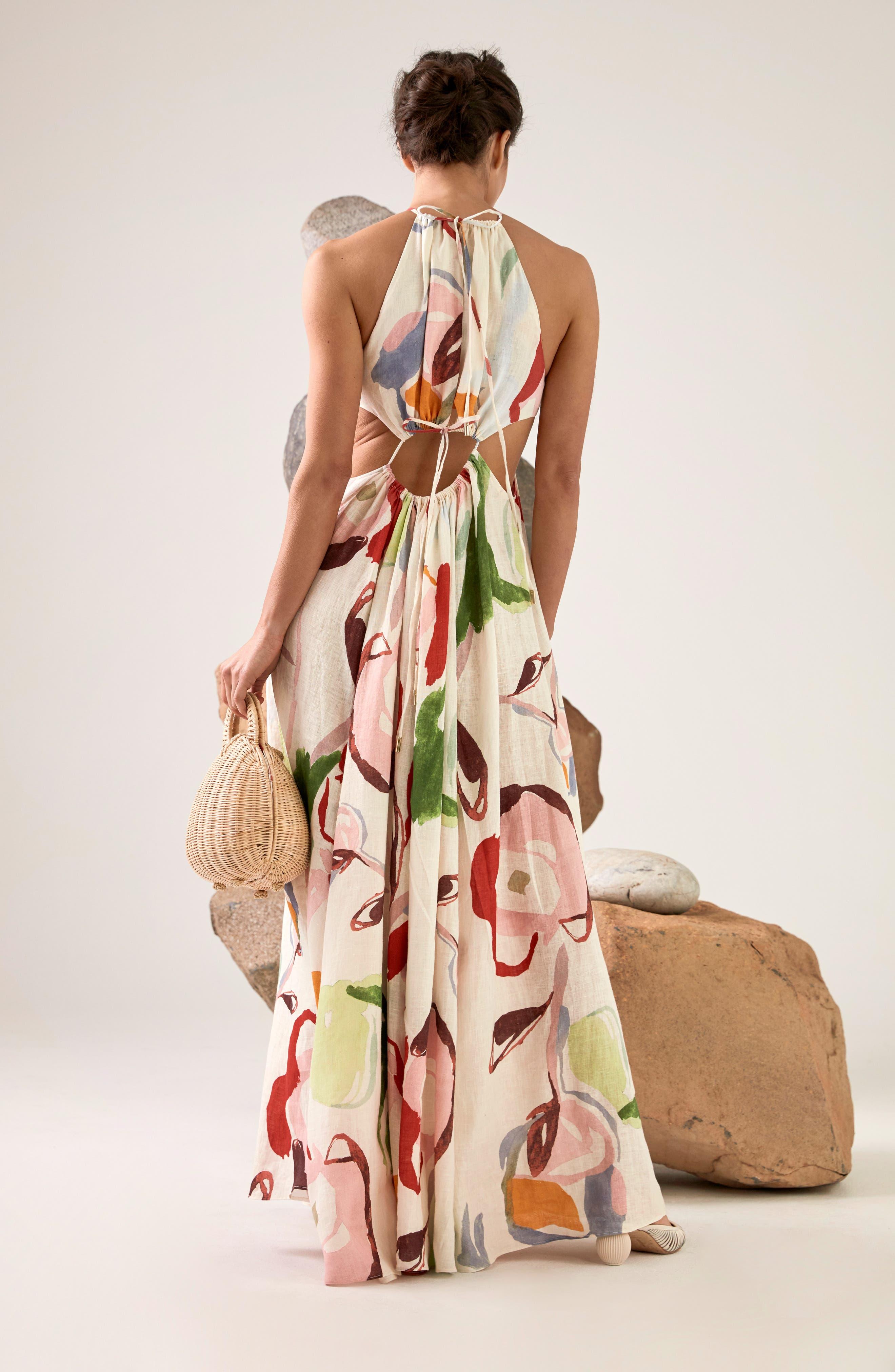 CULT GAIA, Aphrodite Grecian Halter Gown, Alternate thumbnail 2, color, 100