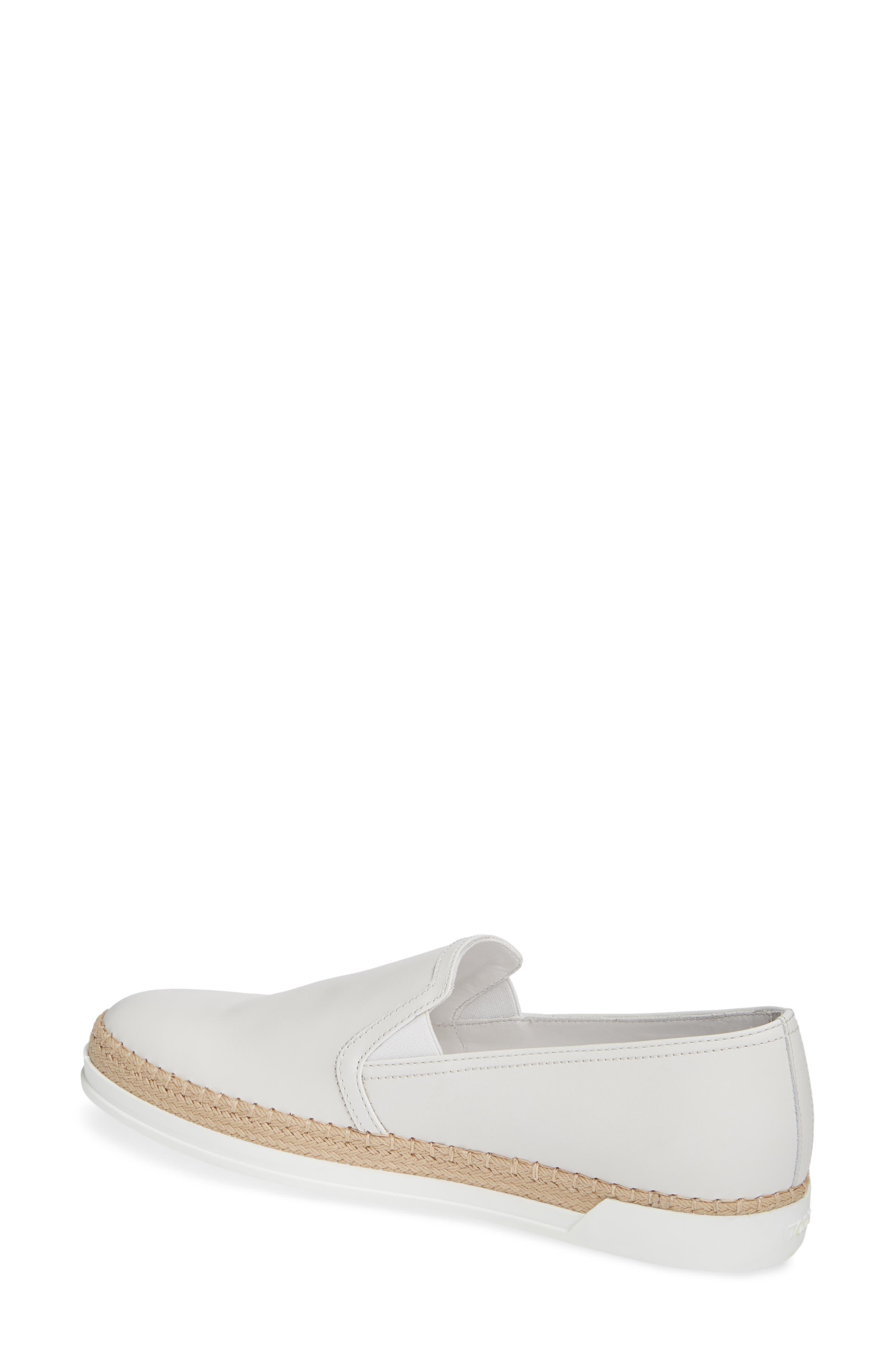 TOD'S, Espadrille Slip-On Sneaker, Alternate thumbnail 2, color, WHITE LEATHER