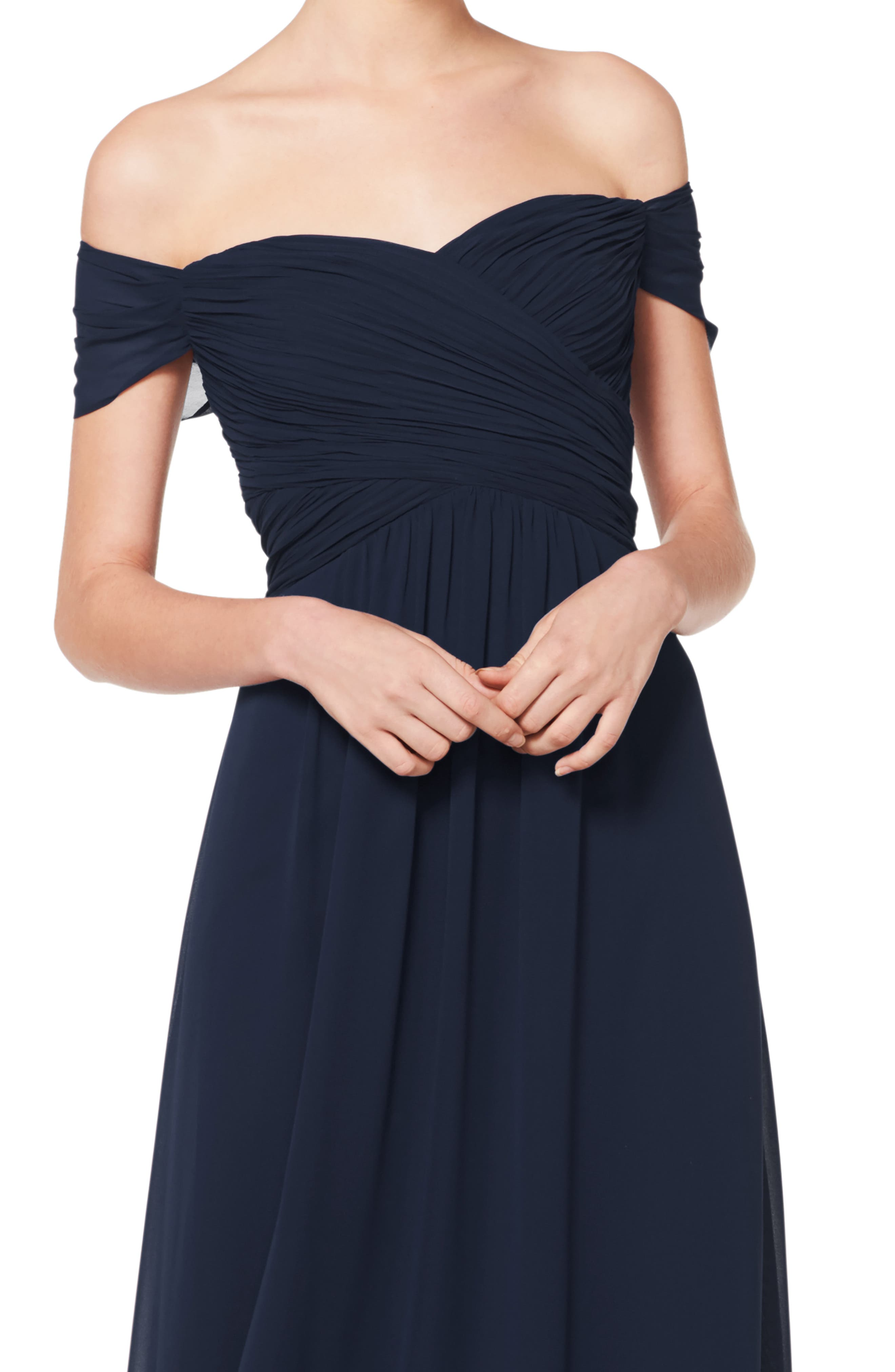 #LEVKOFF, Off the Shoulder Ruched Bodice Chiffon Evening Dress, Alternate thumbnail 3, color, NAVY