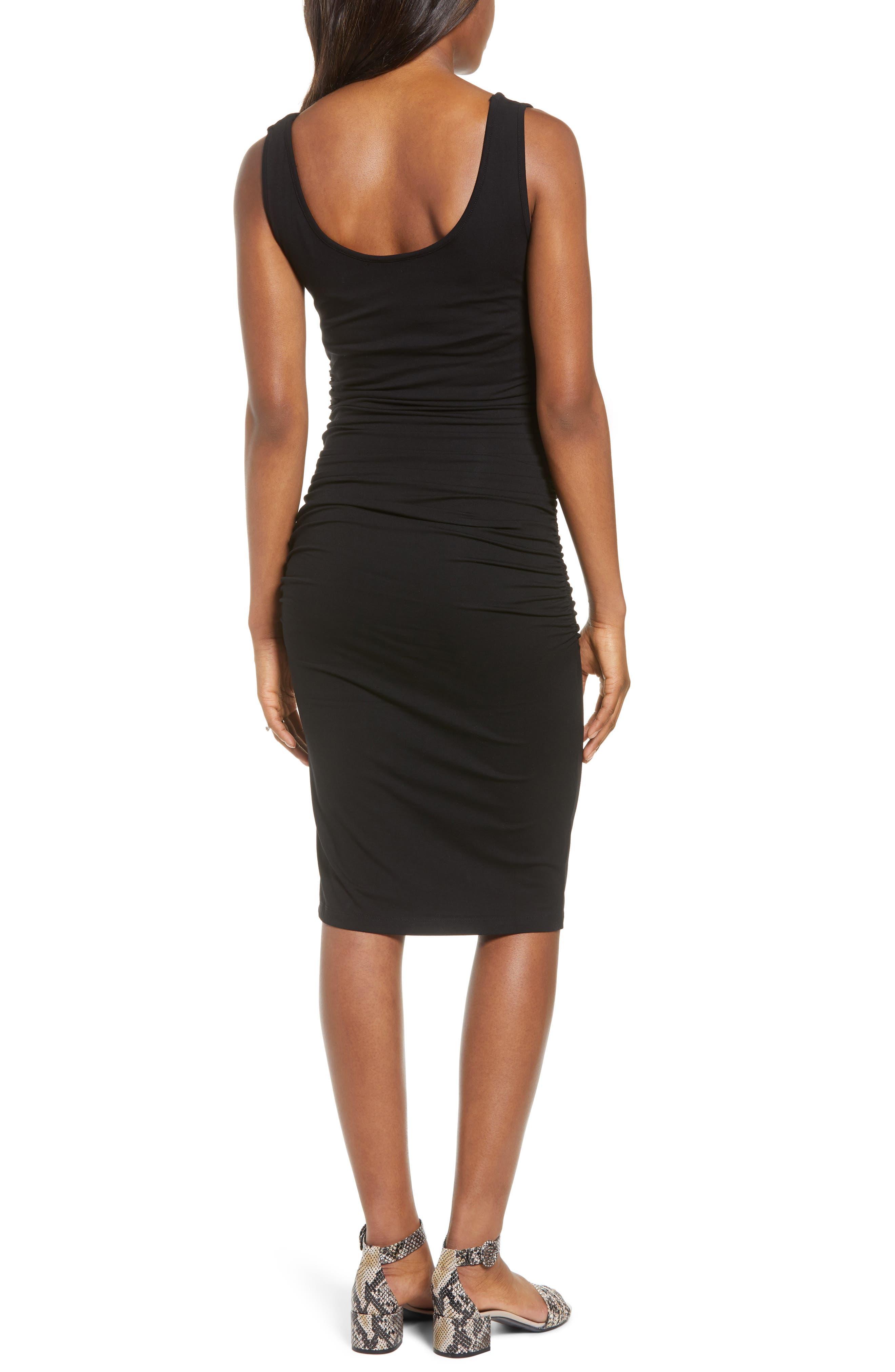 ISABELLA OLIVER, 'Ellis' Side Ruched Maternity Tank Dress, Alternate thumbnail 2, color, CAVIAR BLACK