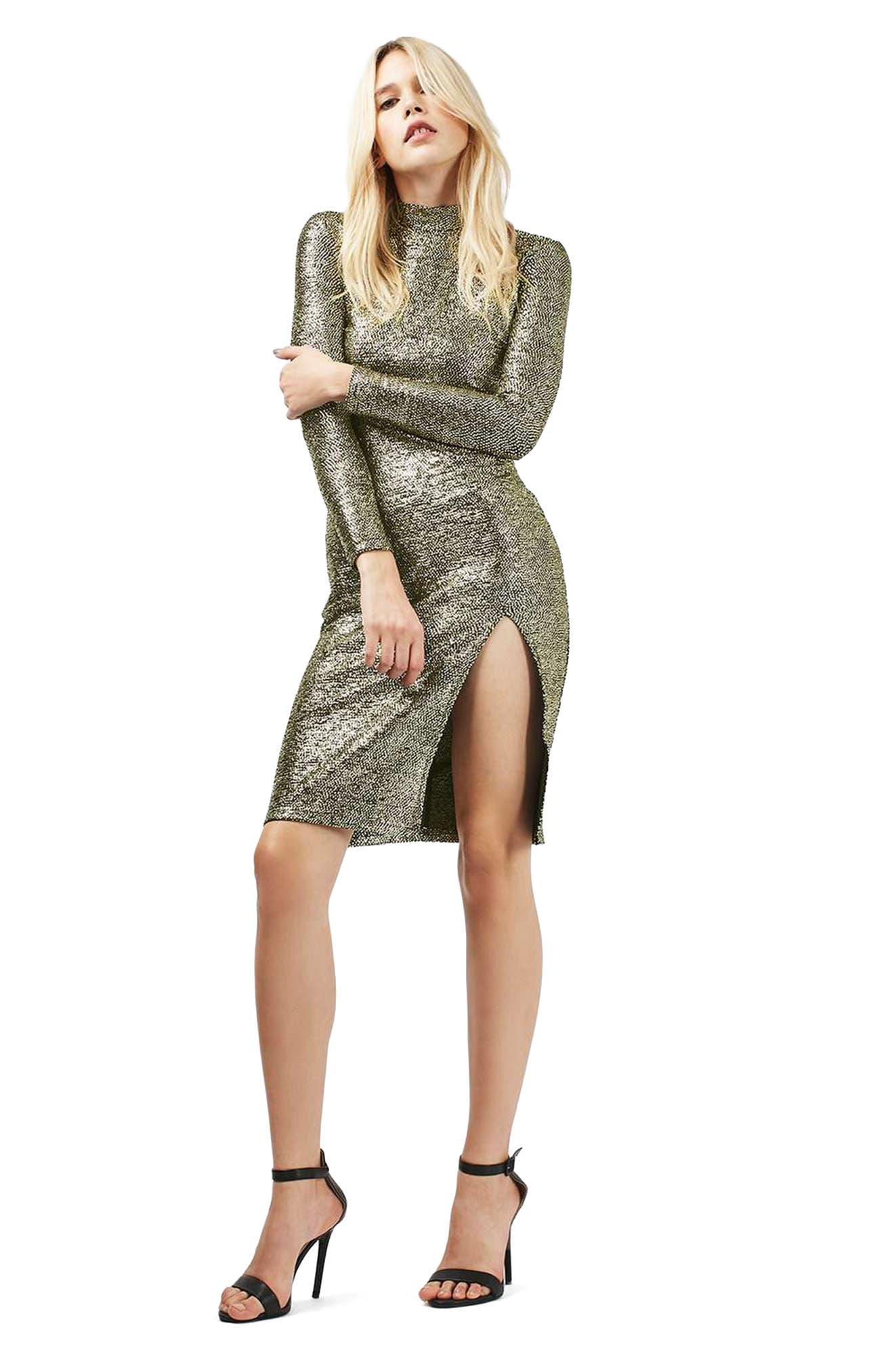 TOPSHOP, Foil Spot Midi Dress, Alternate thumbnail 9, color, 710