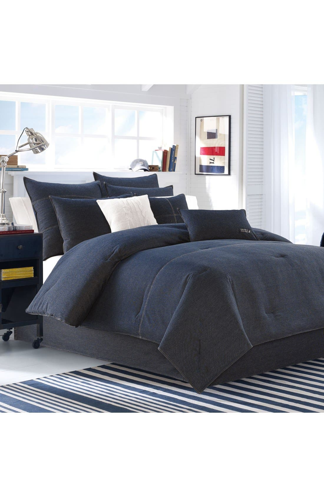 NAUTICA, Seaward Comforter & Sham Set, Alternate thumbnail 2, color, DENIM BLUE