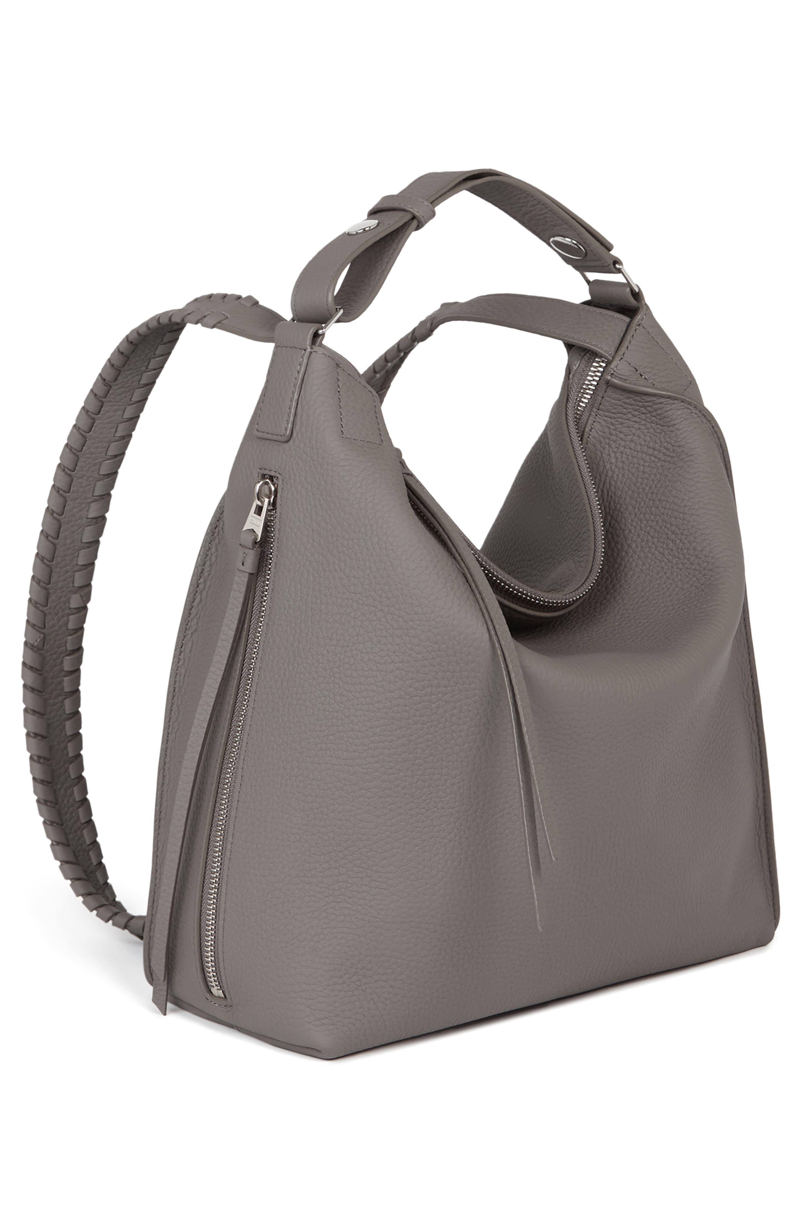 ALLSAINTS, Small Kita Convertible Leather Backpack, Alternate thumbnail 4, color, STORM GREY