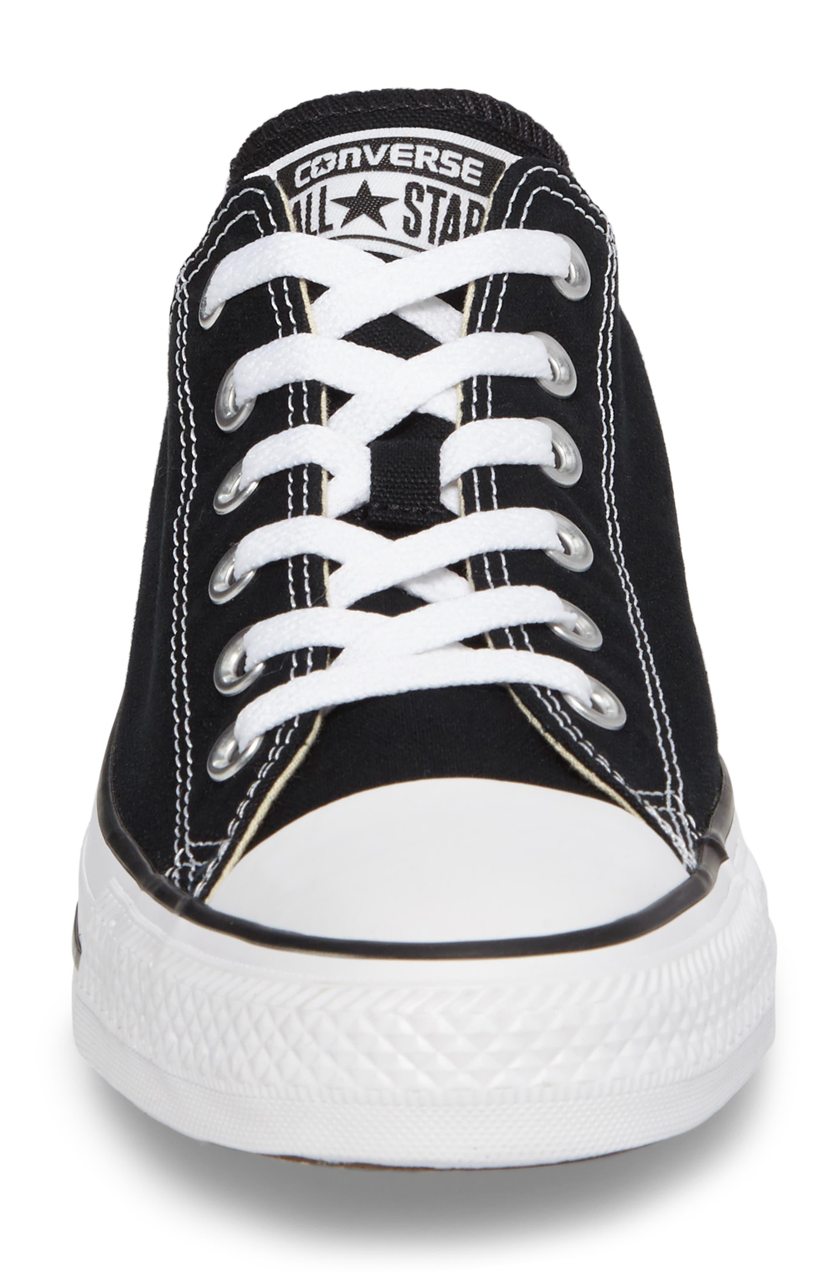 CONVERSE, Chuck Taylor<sup>®</sup> Low Sneaker, Alternate thumbnail 4, color, BLACK