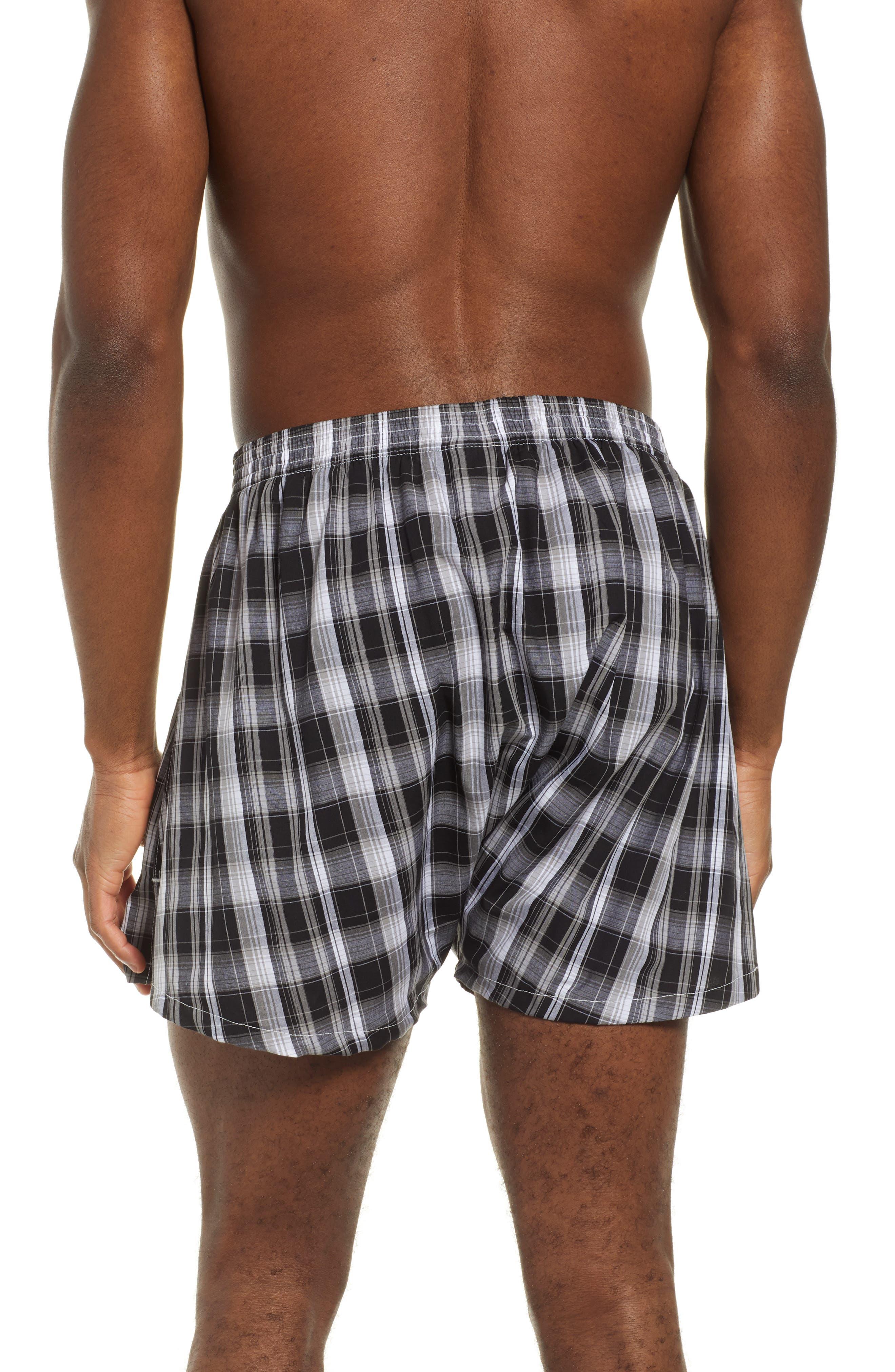 NORDSTROM MEN'S SHOP, 3-Pack Classic Fit Boxers, Alternate thumbnail 3, color, BLACK- WHITE PLAID PACK