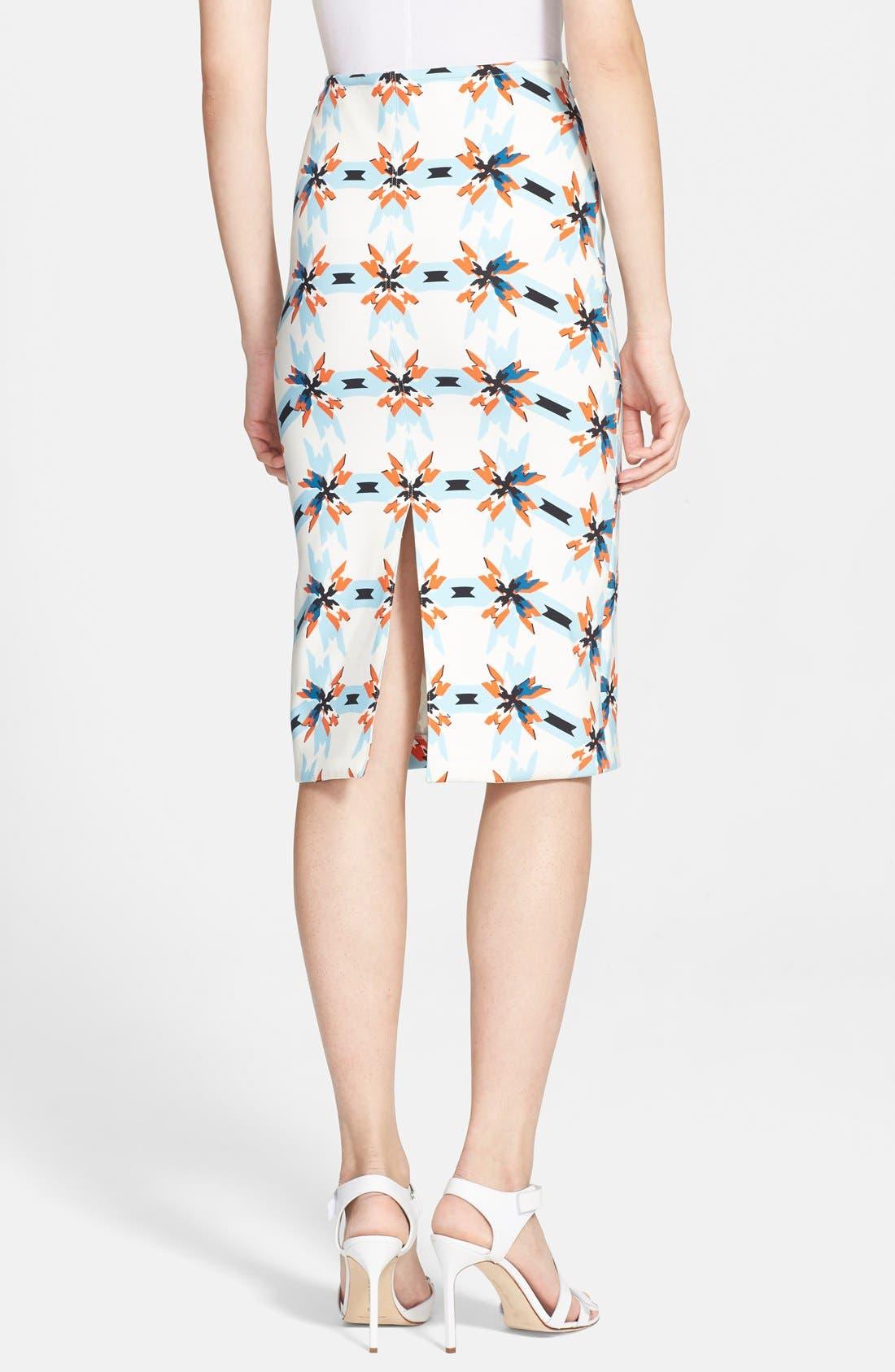 TANYA TAYLOR, 'Bundy' Print Pencil Skirt, Alternate thumbnail 3, color, 400