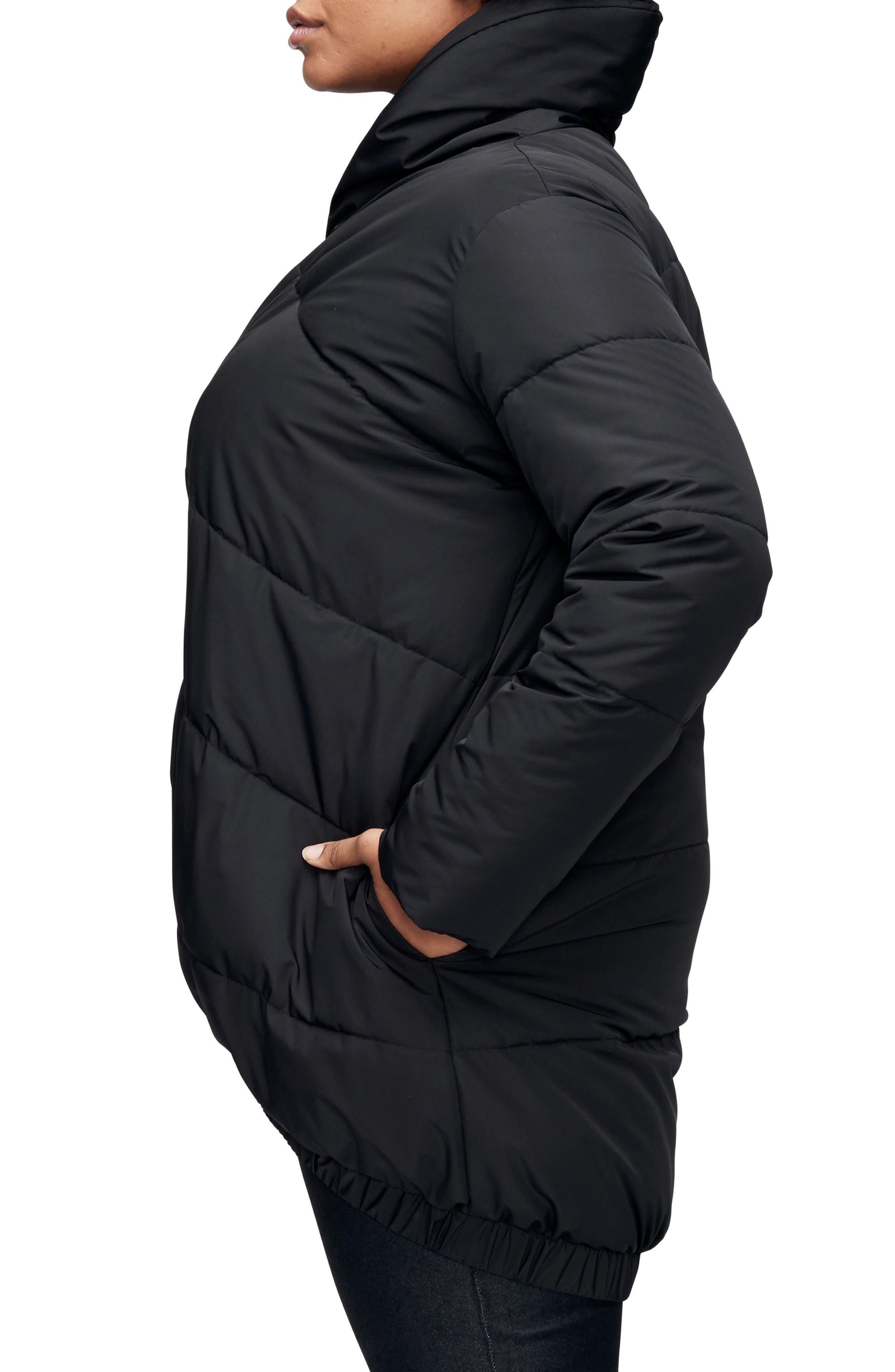 UNIVERSAL STANDARD, Kanda Puffer Coat, Alternate thumbnail 4, color, BLACK