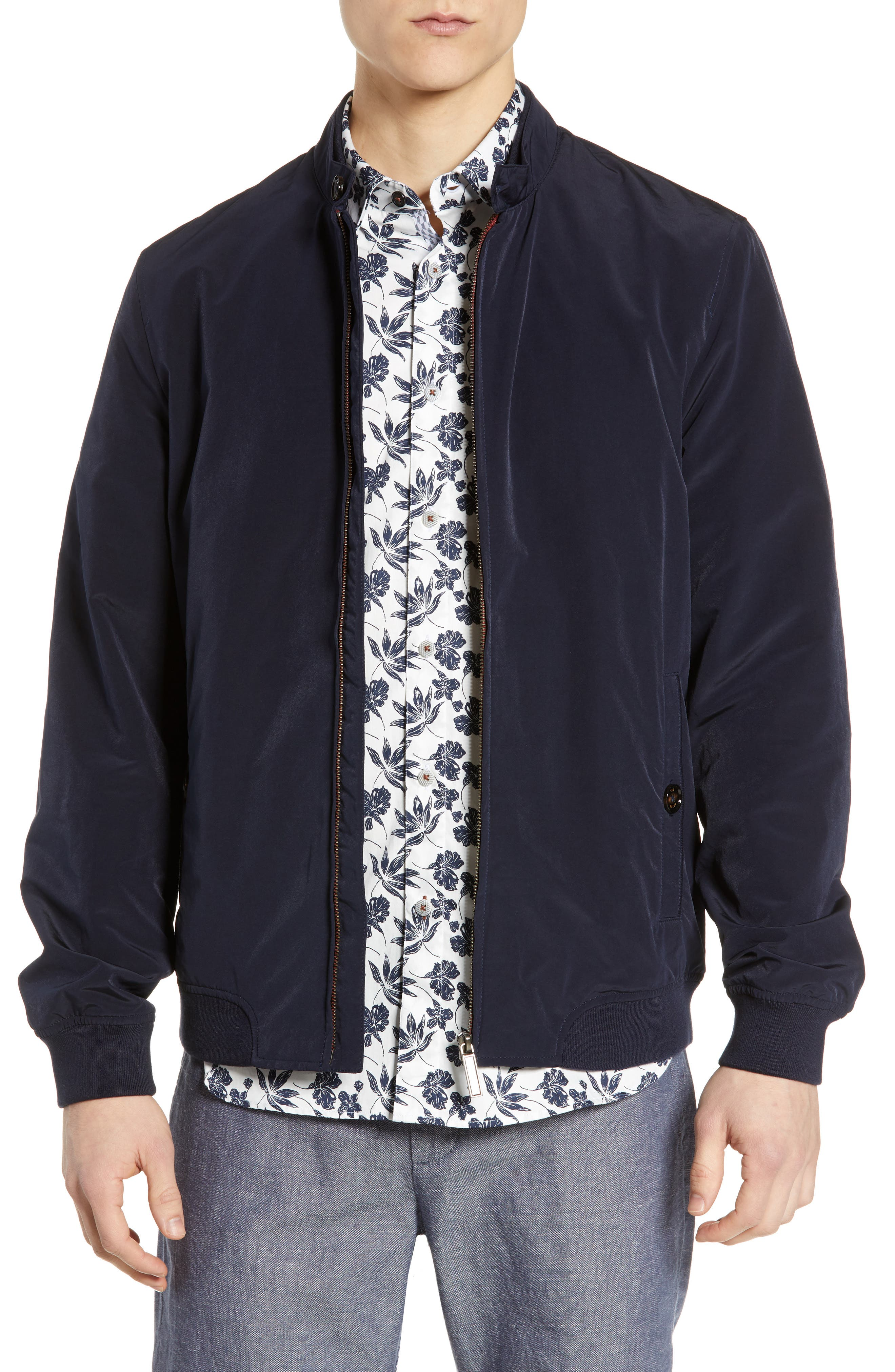 TED BAKER LONDON Aroma Slim Fit Bomber Jacket, Main, color, NAVY