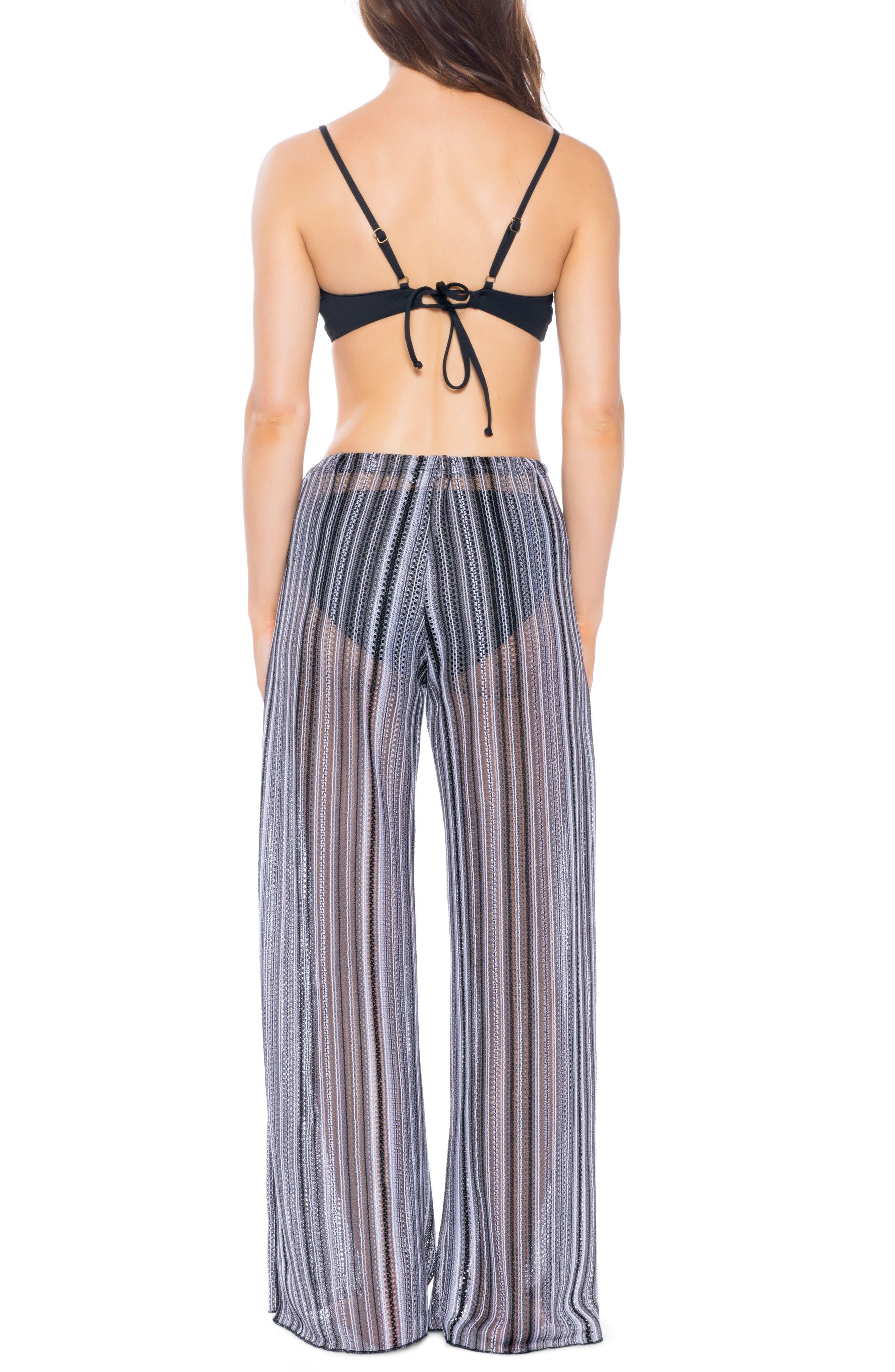 BECCA, Pierside Cover-Up Flyaway Pants, Alternate thumbnail 2, color, BLACK