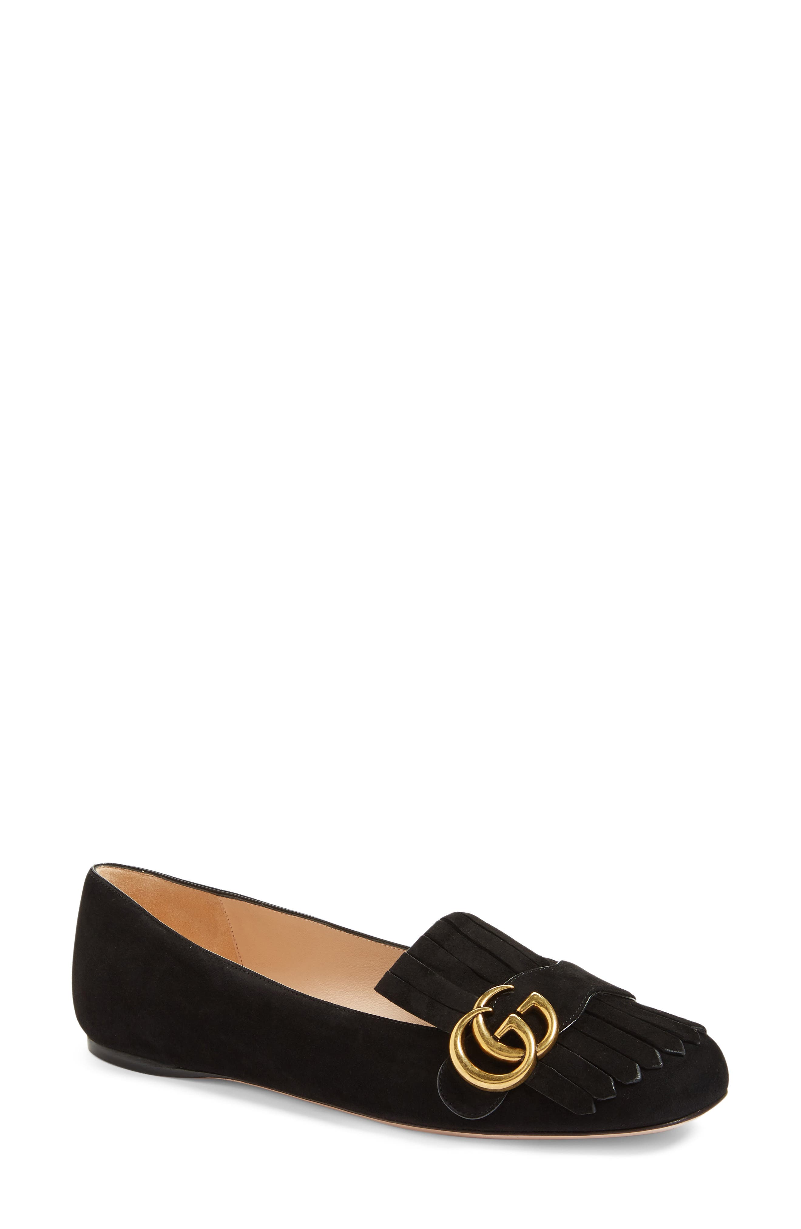 GUCCI, GG Marmont Fringe Flat, Main thumbnail 1, color, BLACK SUEDE