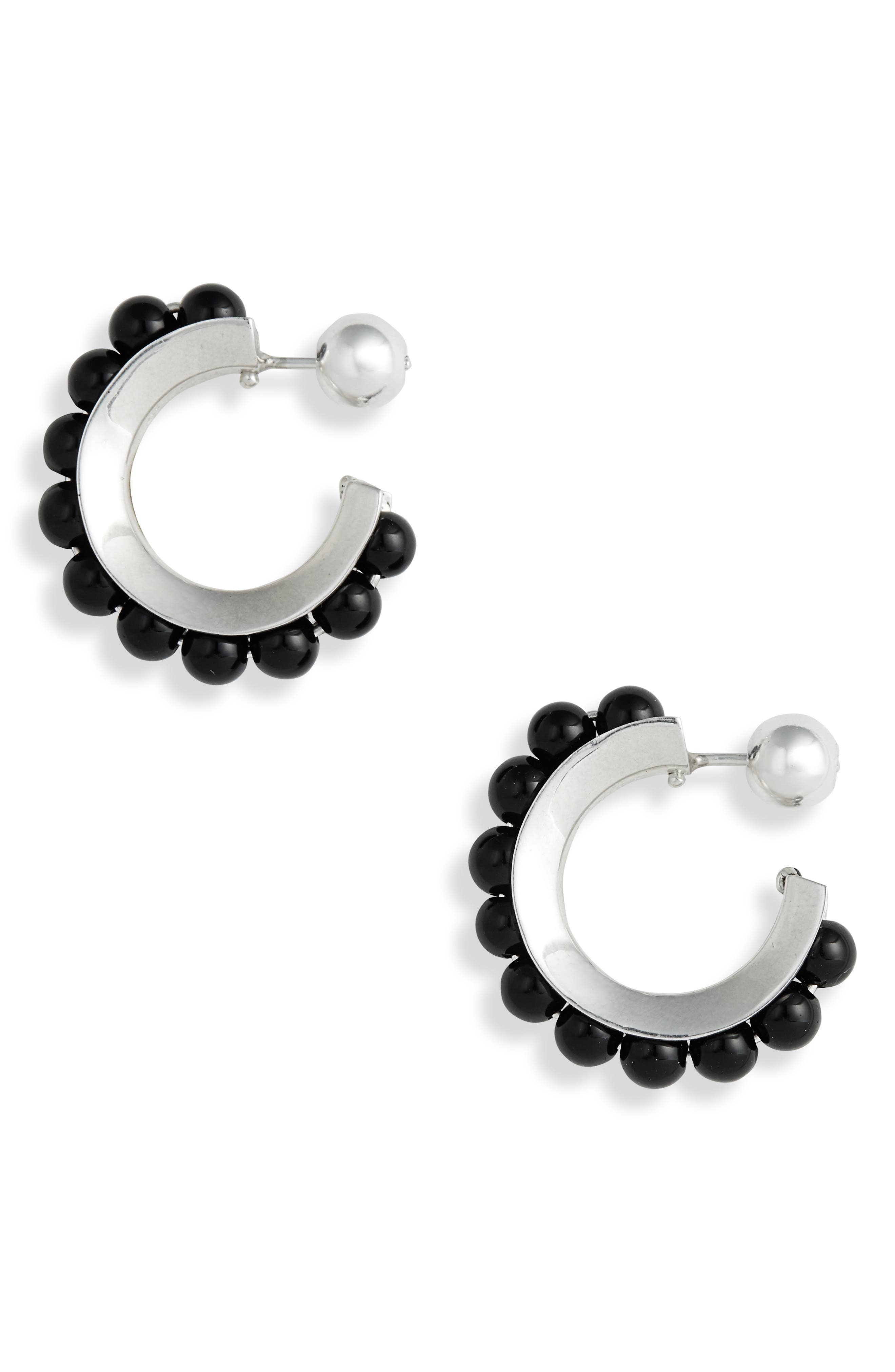 SOPHIE BUHAI, Onyx Hoop Earrings, Main thumbnail 1, color, STERLING SILVER/ ONYX