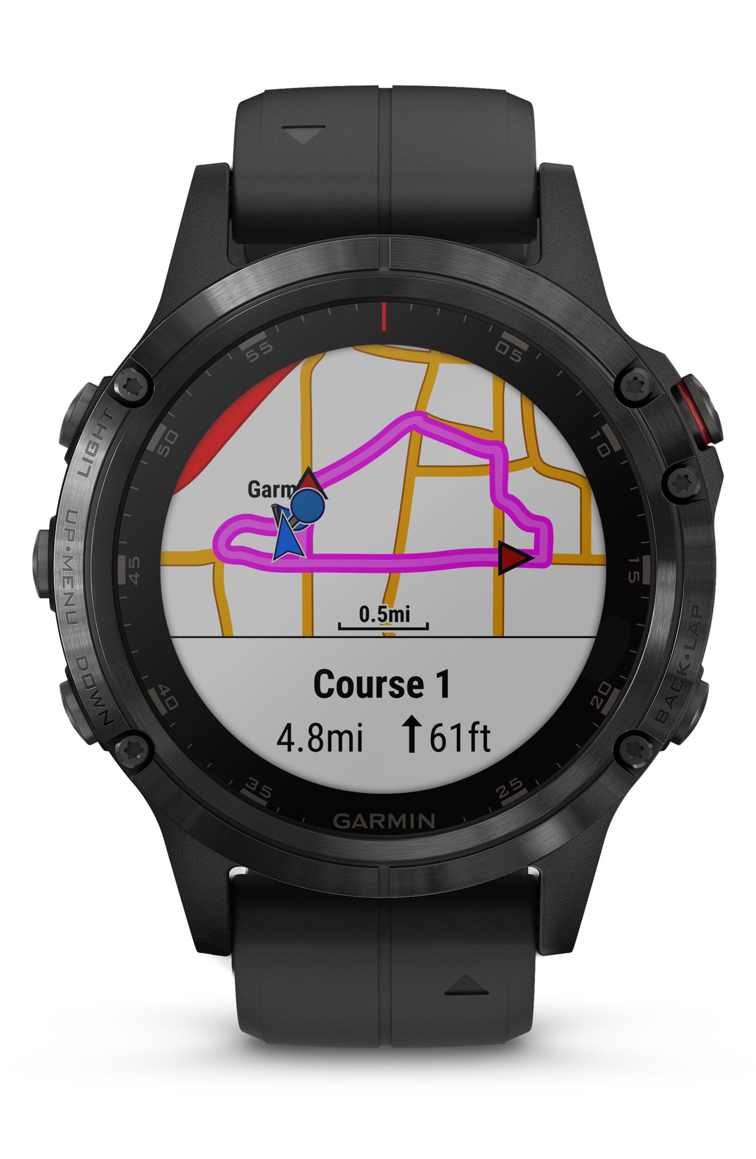 GARMIN, fenix<sup>®</sup> 5 Plus Sapphire Premium Multisport GPS Watch, 47mm, Alternate thumbnail 7, color, BLACK