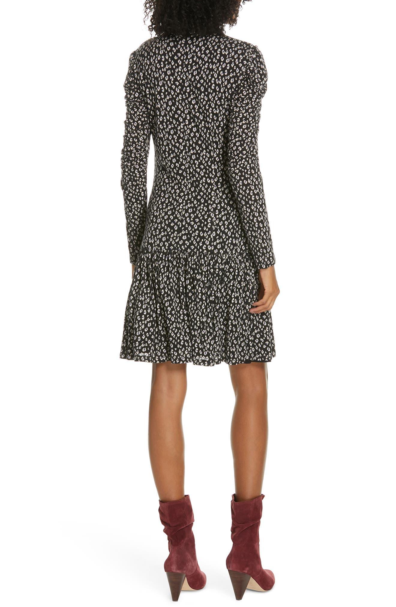 REBECCA TAYLOR, Cheetah Ruched Jersey Dress, Alternate thumbnail 2, color, 014