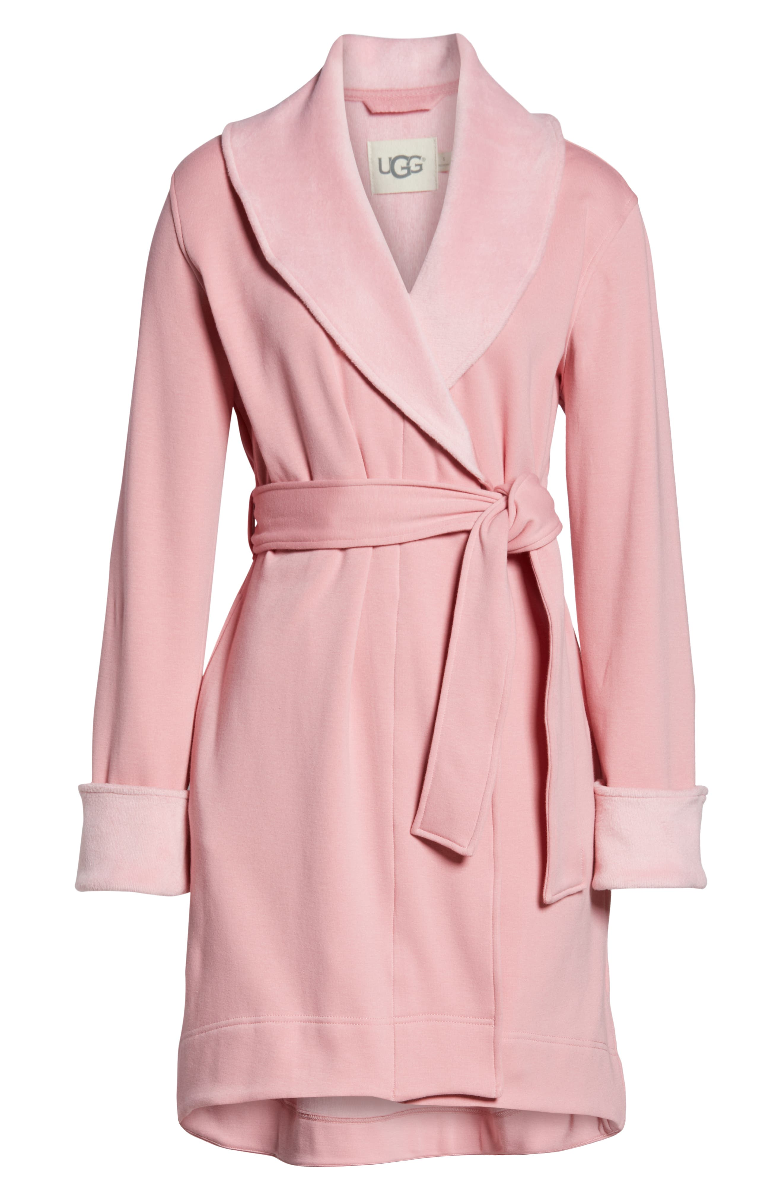 UGG<SUP>®</SUP>, Blanche II Short Robe, Alternate thumbnail 6, color, PINK DAWN