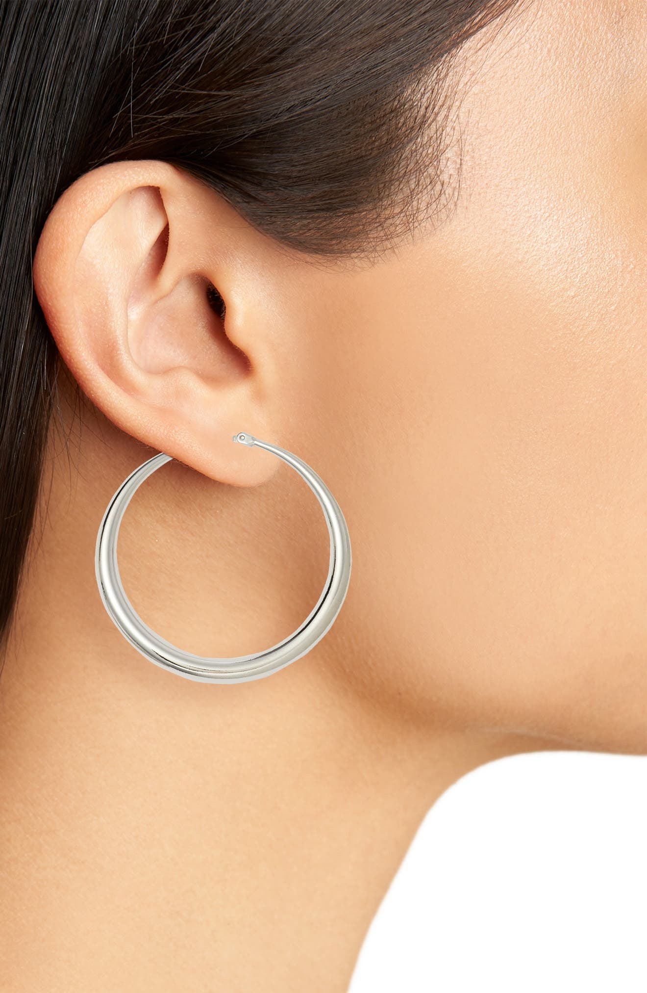 HALOGEN<SUP>®</SUP>, Medium Graduated Tube Hoop Earrings, Alternate thumbnail 2, color, RHODIUM