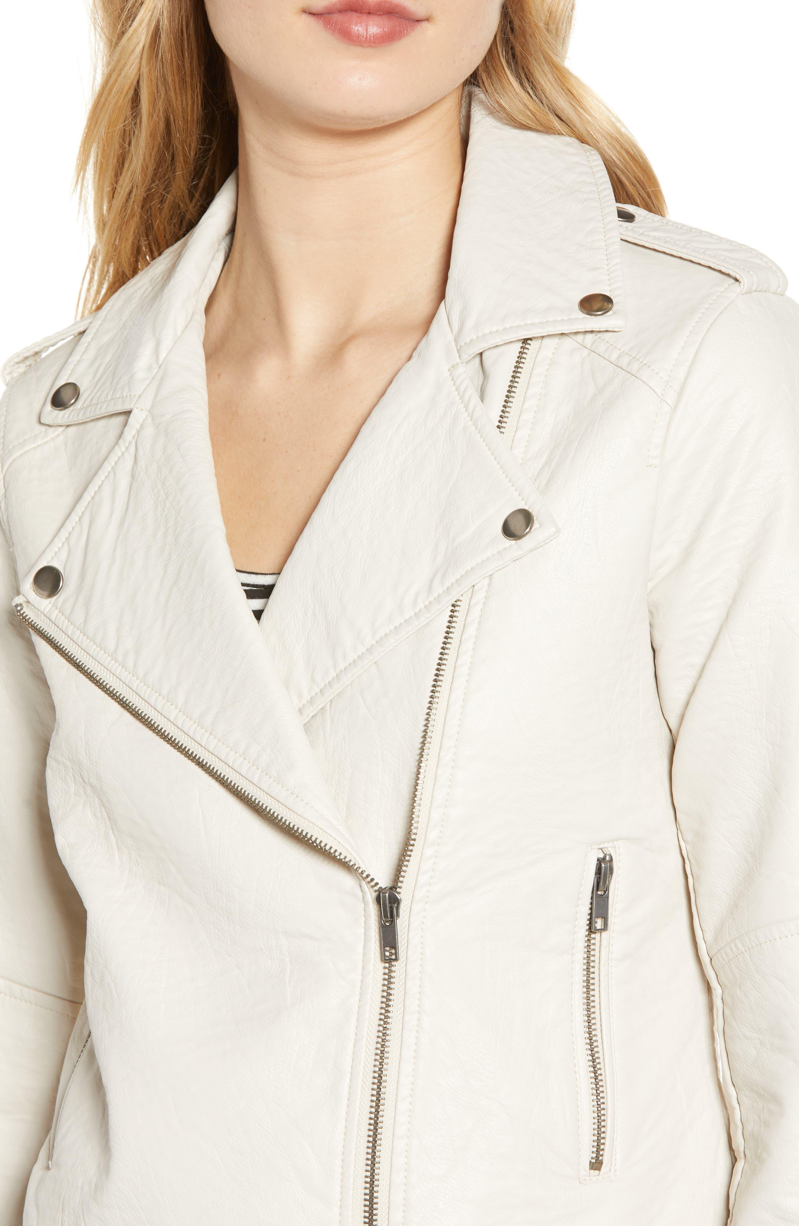 CUPCAKES AND CASHMERE, Vivica Faux Leather Jacket, Alternate thumbnail 5, color, BONE