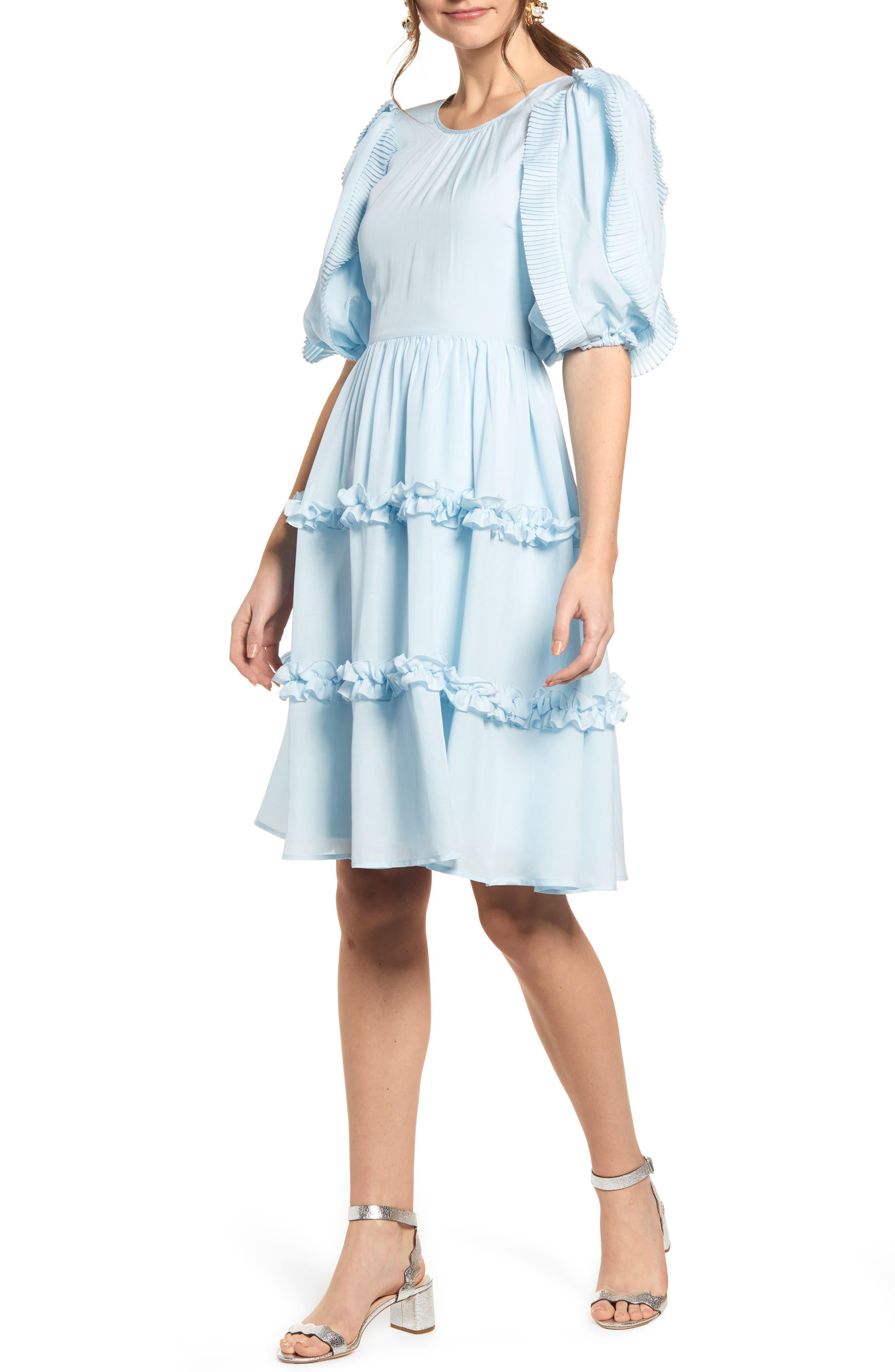 RACHEL PARCELL, Ruffle Sleeve Dress, Main thumbnail 1, color, BLUE WINTER