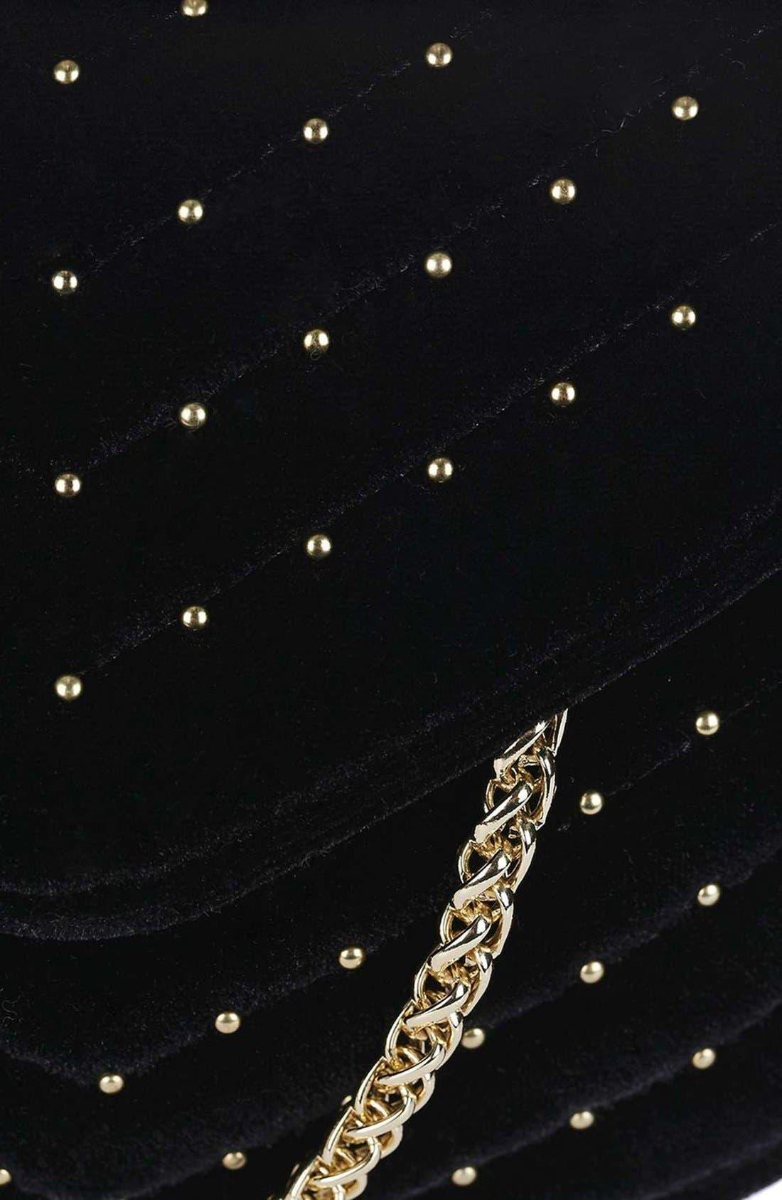 TOPSHOP, Embellished Velvet Crossbody Bag, Alternate thumbnail 4, color, 001