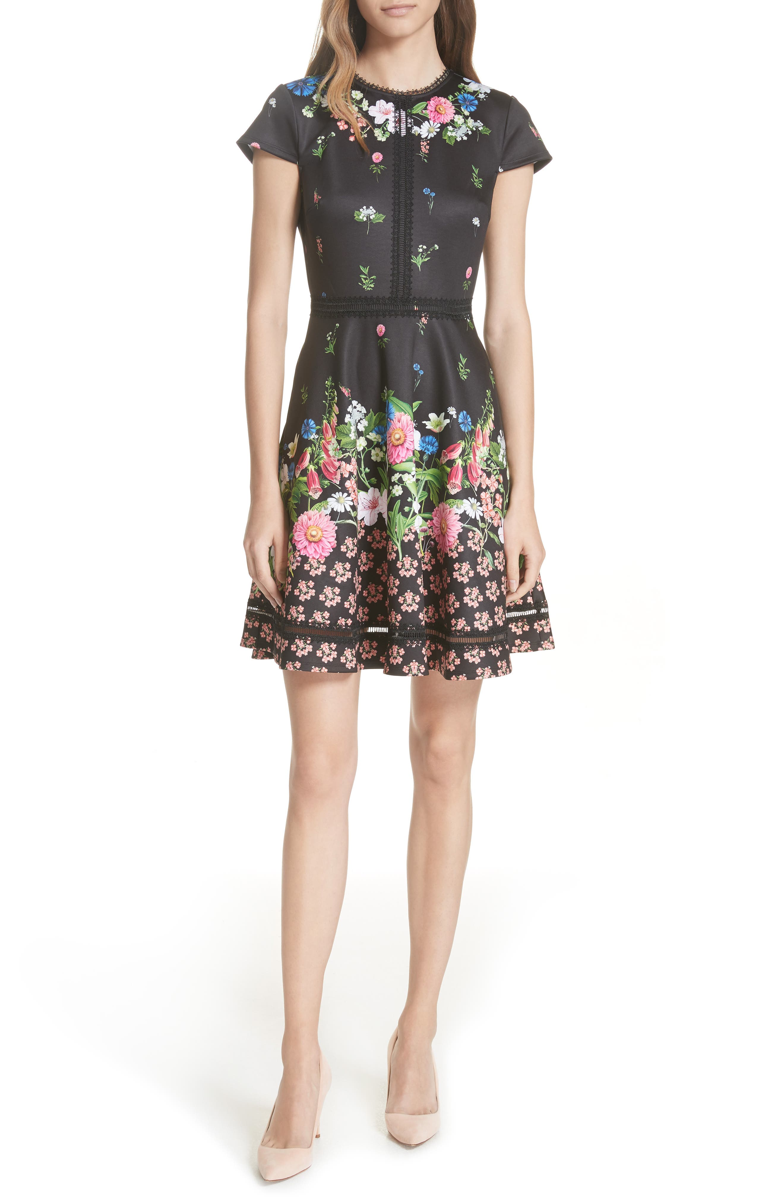 TED BAKER LONDON Daissie Florence Trim Skater Dress, Main, color, 001