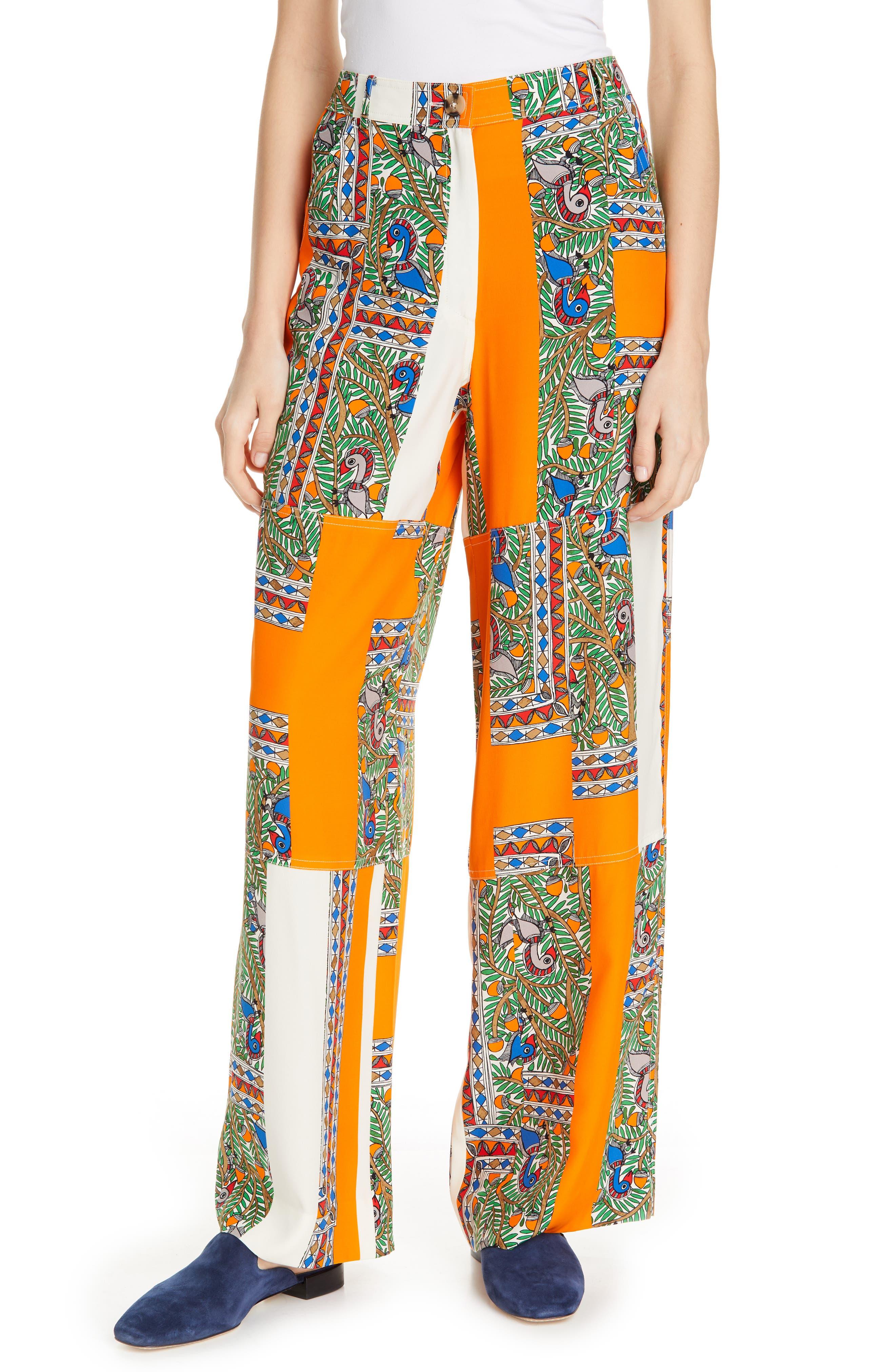 Tory Burch Silk Cargo Pants, Orange