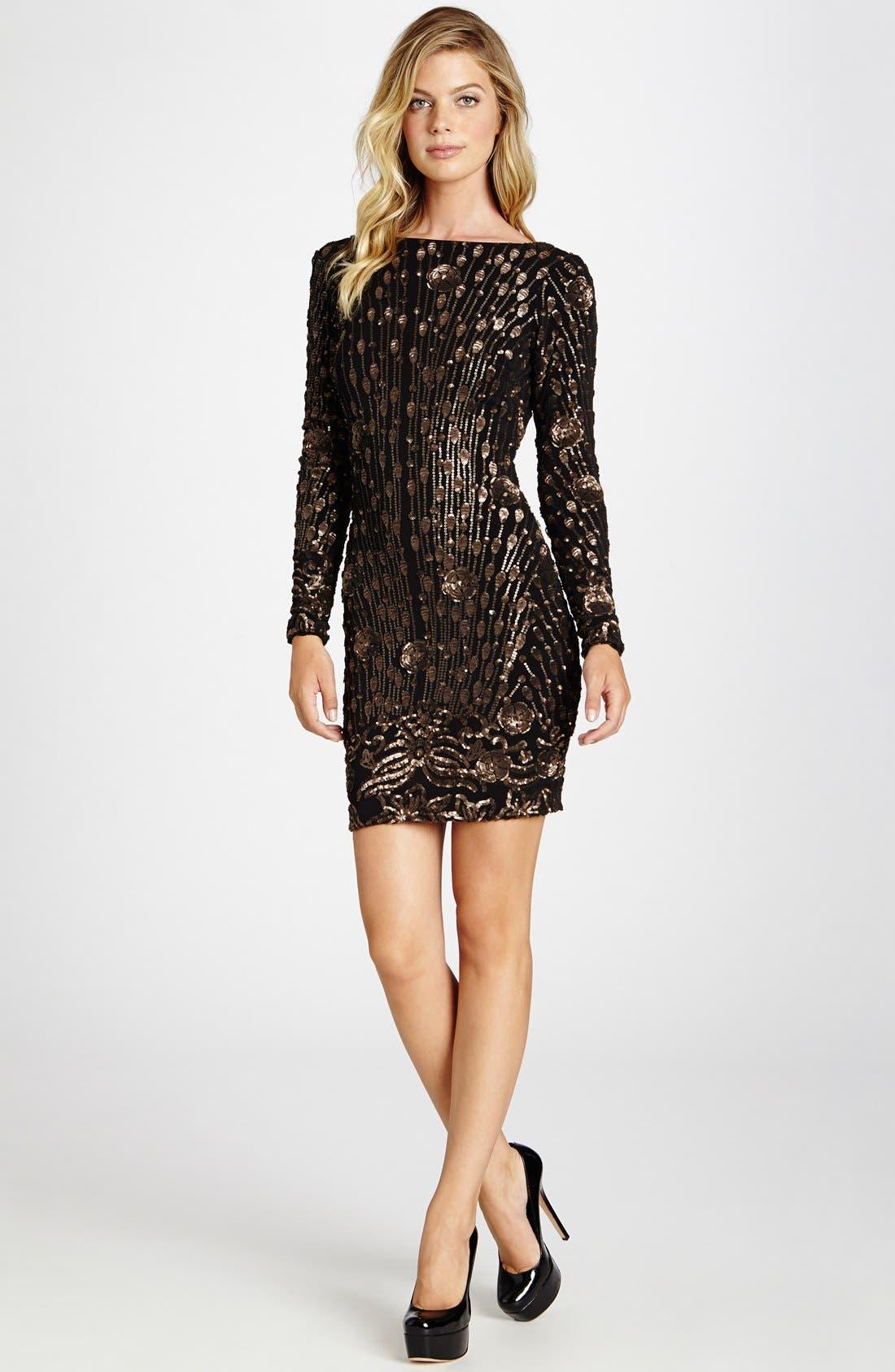 DRESS THE POPULATION 'Lola' Sequin Minidress, Main, color, 714