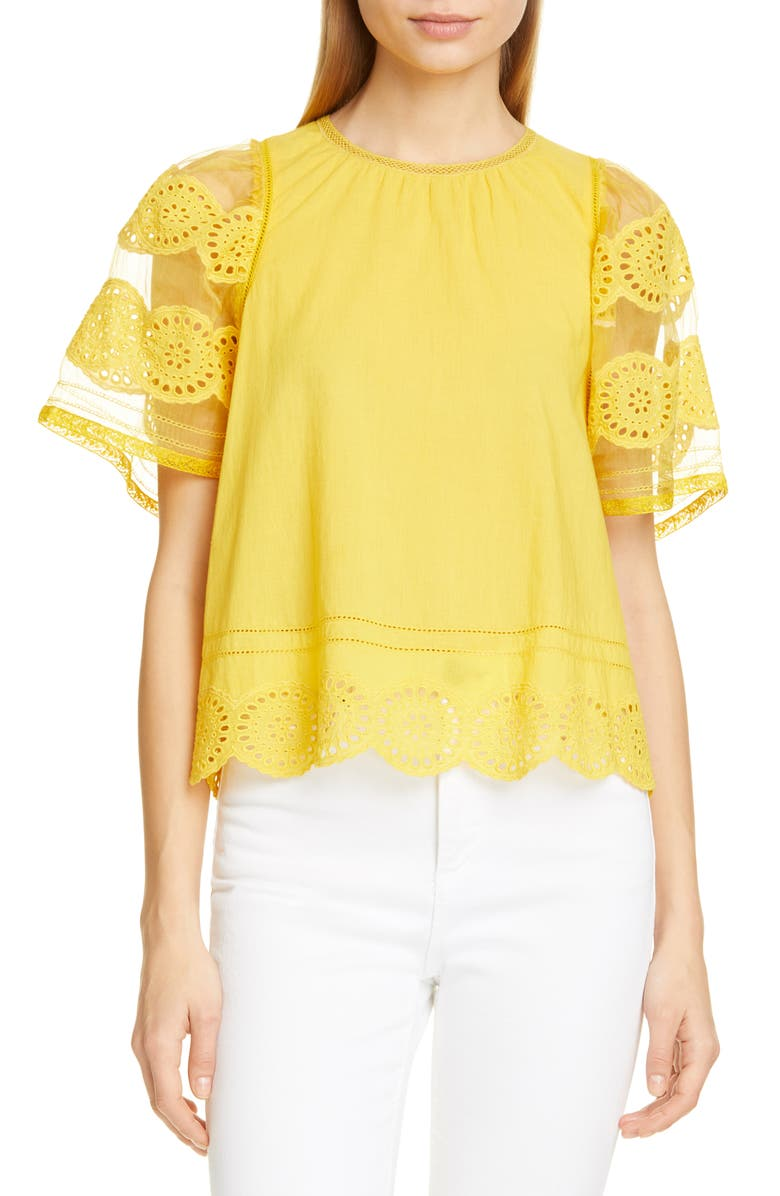 Sea Tops ZINNIA SHEER SLEEVE EYELET TOP