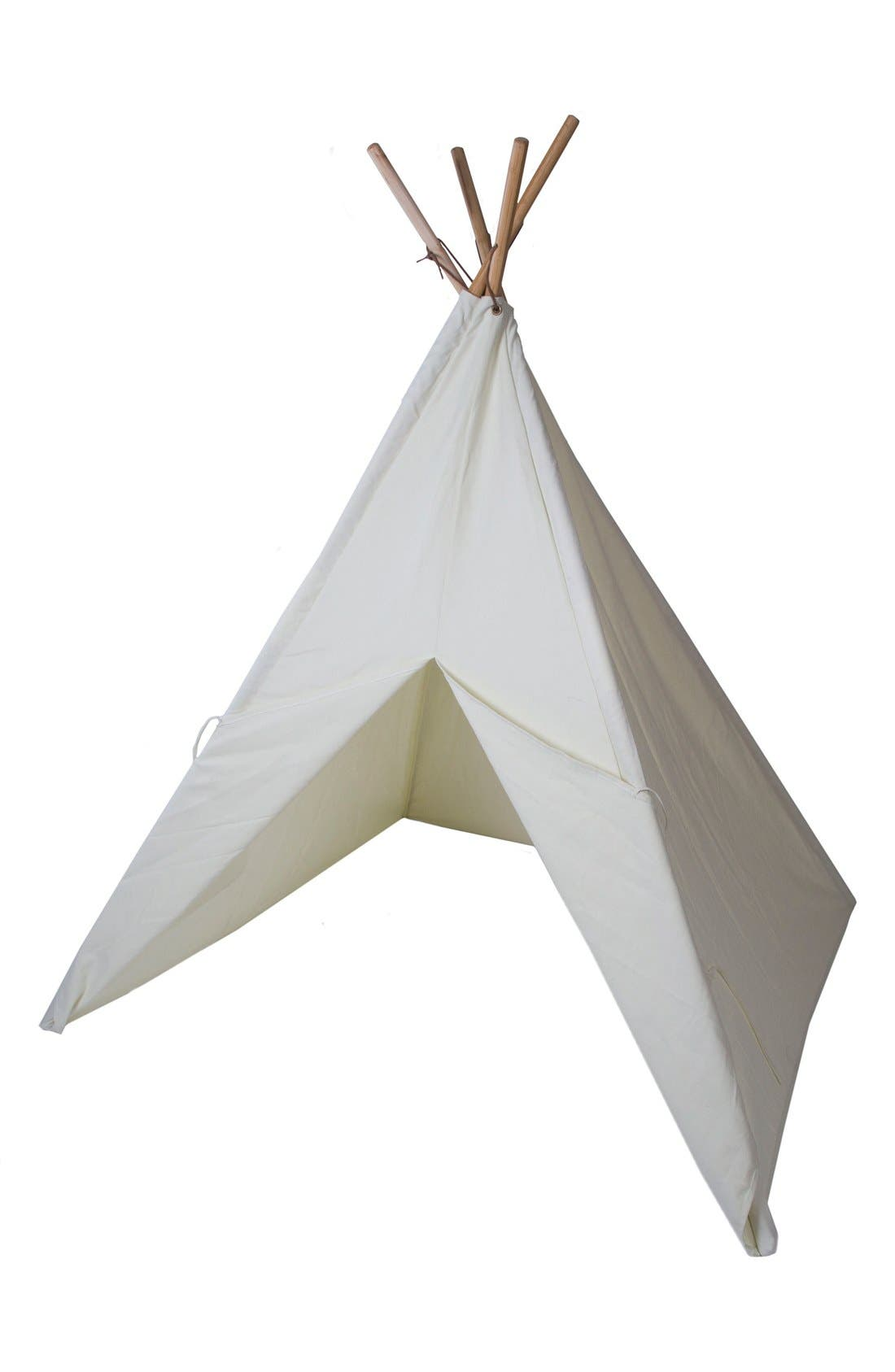 PACIFIC PLAY TENTS Cotton Canvas Teepee with Paint Set, Main, color, BEIGE
