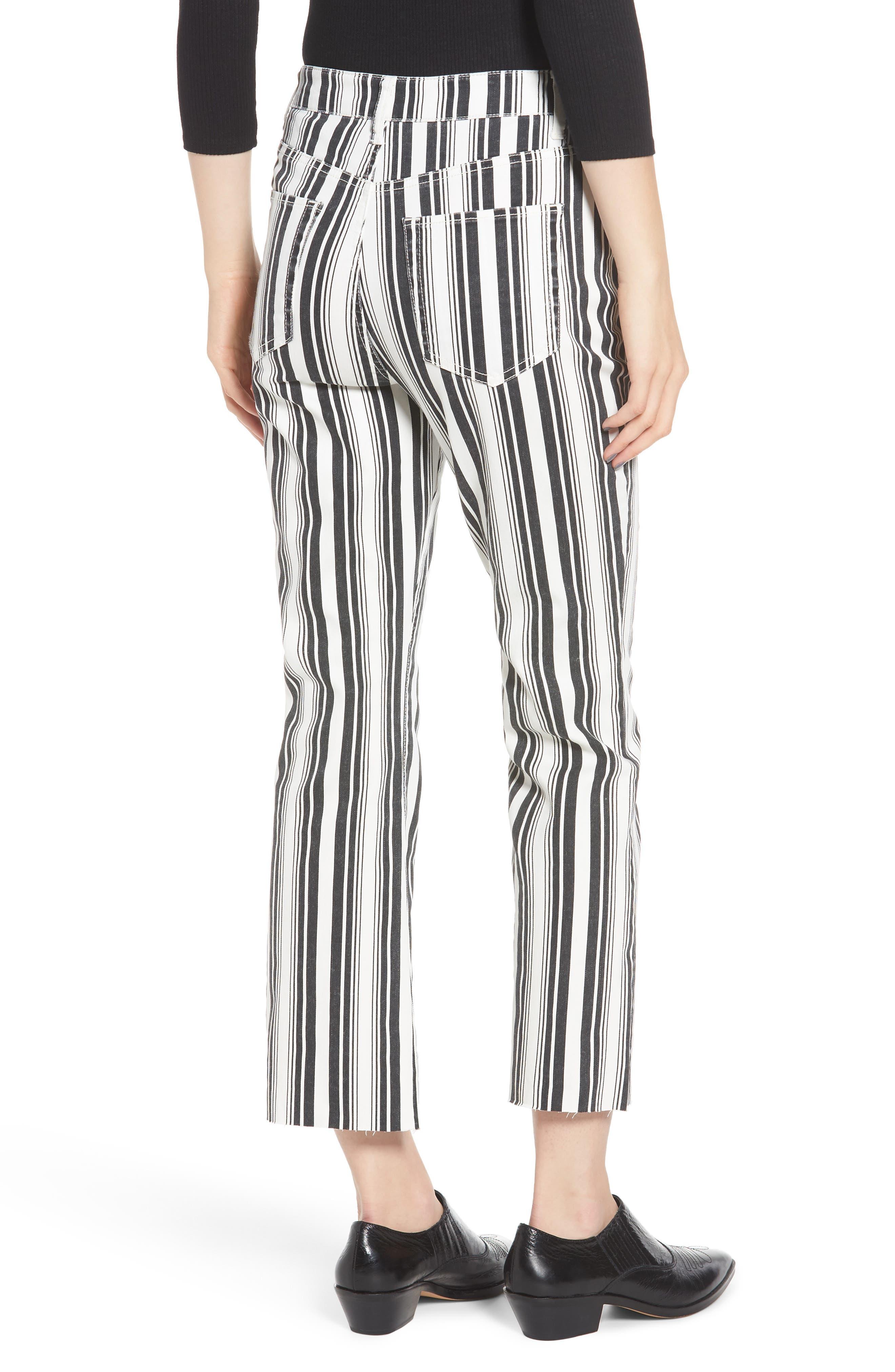 TINSEL, Stripe Crop Flare Jeans, Alternate thumbnail 2, color, WHITE BLACK