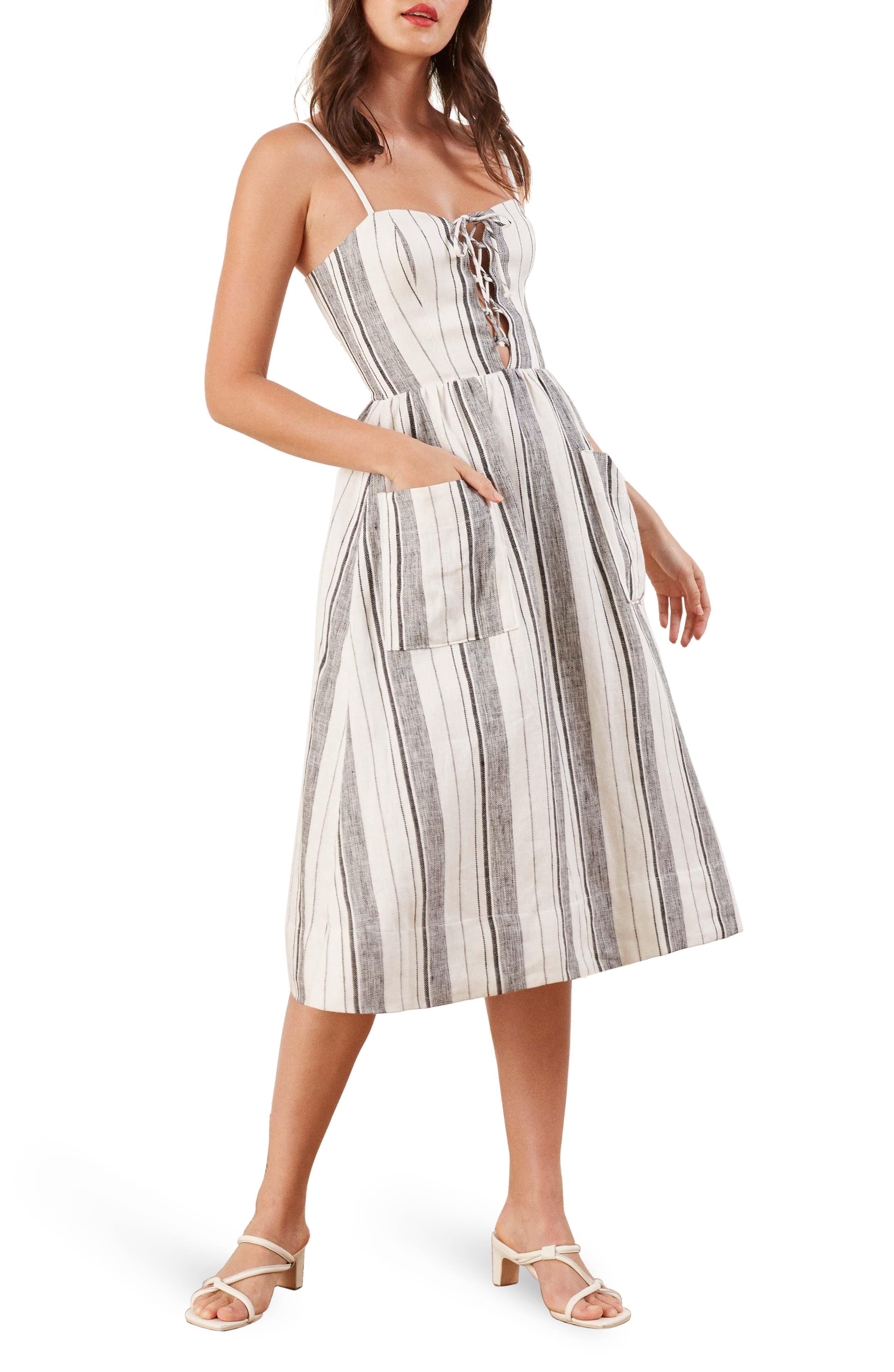 REFORMATION, Ellen Linen Midi Dress, Main thumbnail 1, color, 100