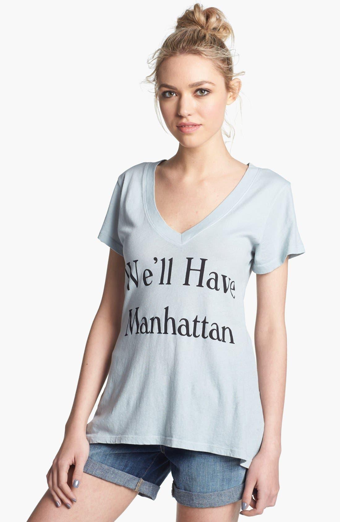 WILDFOX 'Manhattan' V-Neck Tee, Main, color, 400