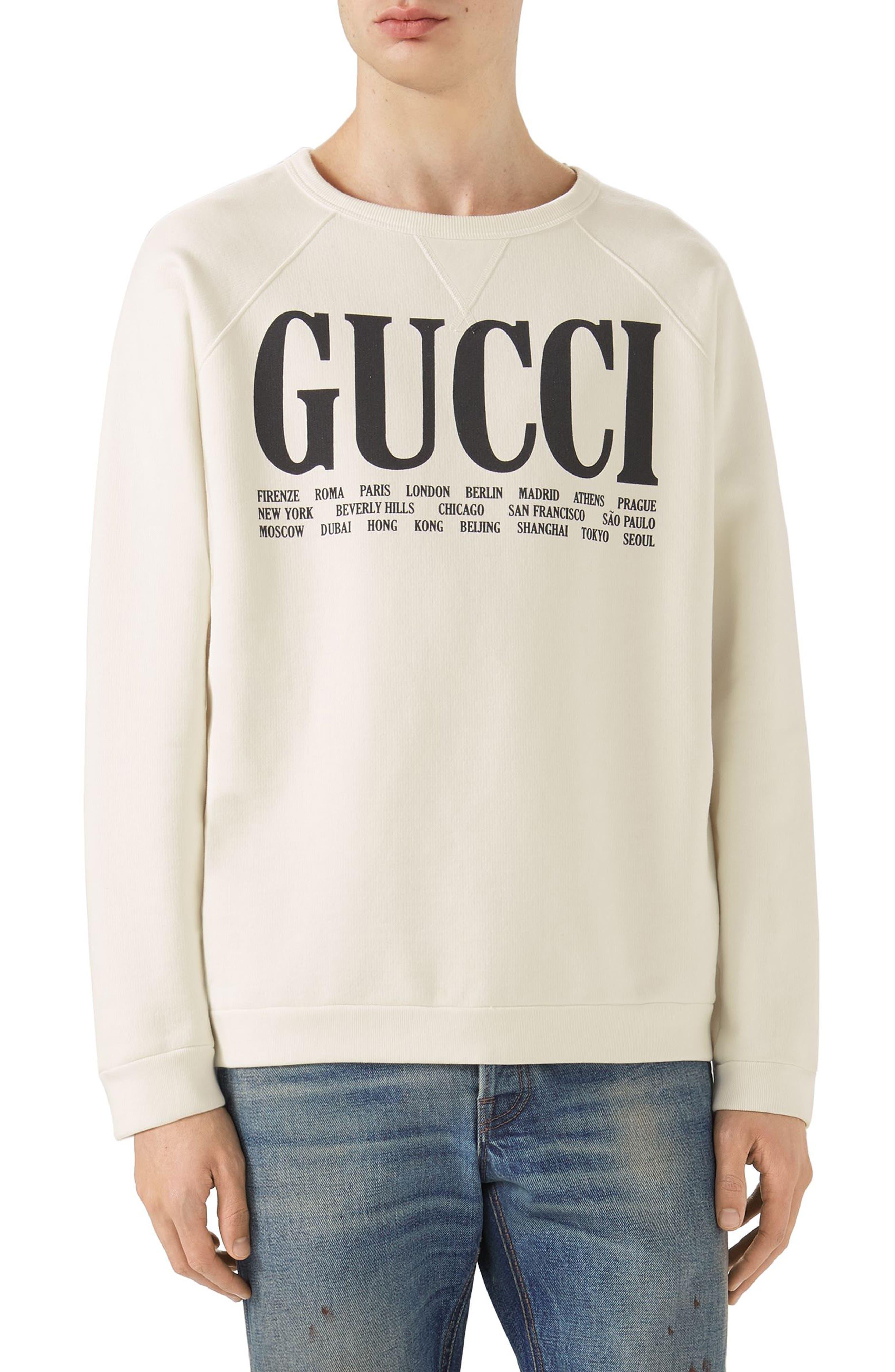 GUCCI, Flagship City Graphic Sweatshirt, Main thumbnail 1, color, 187