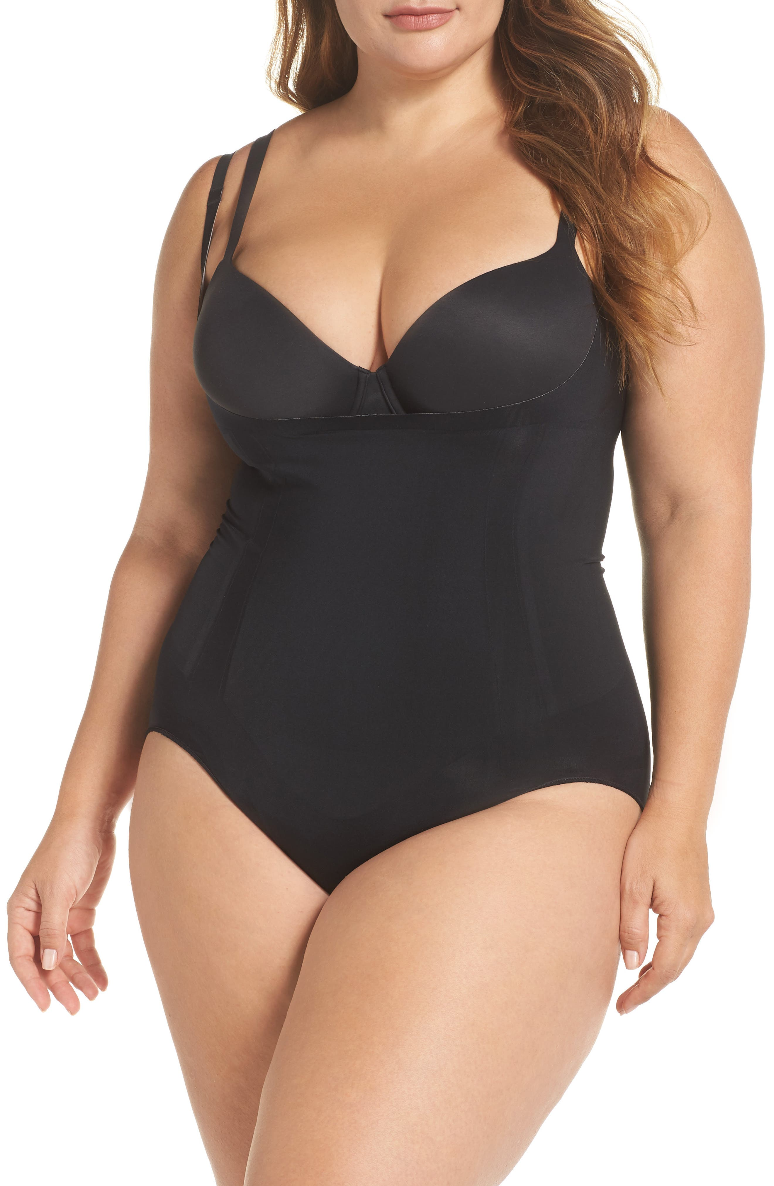 SPANX<SUP>®</SUP>, Oncore Open Bust Panty Bodysuit, Main thumbnail 1, color, VERY BLACK