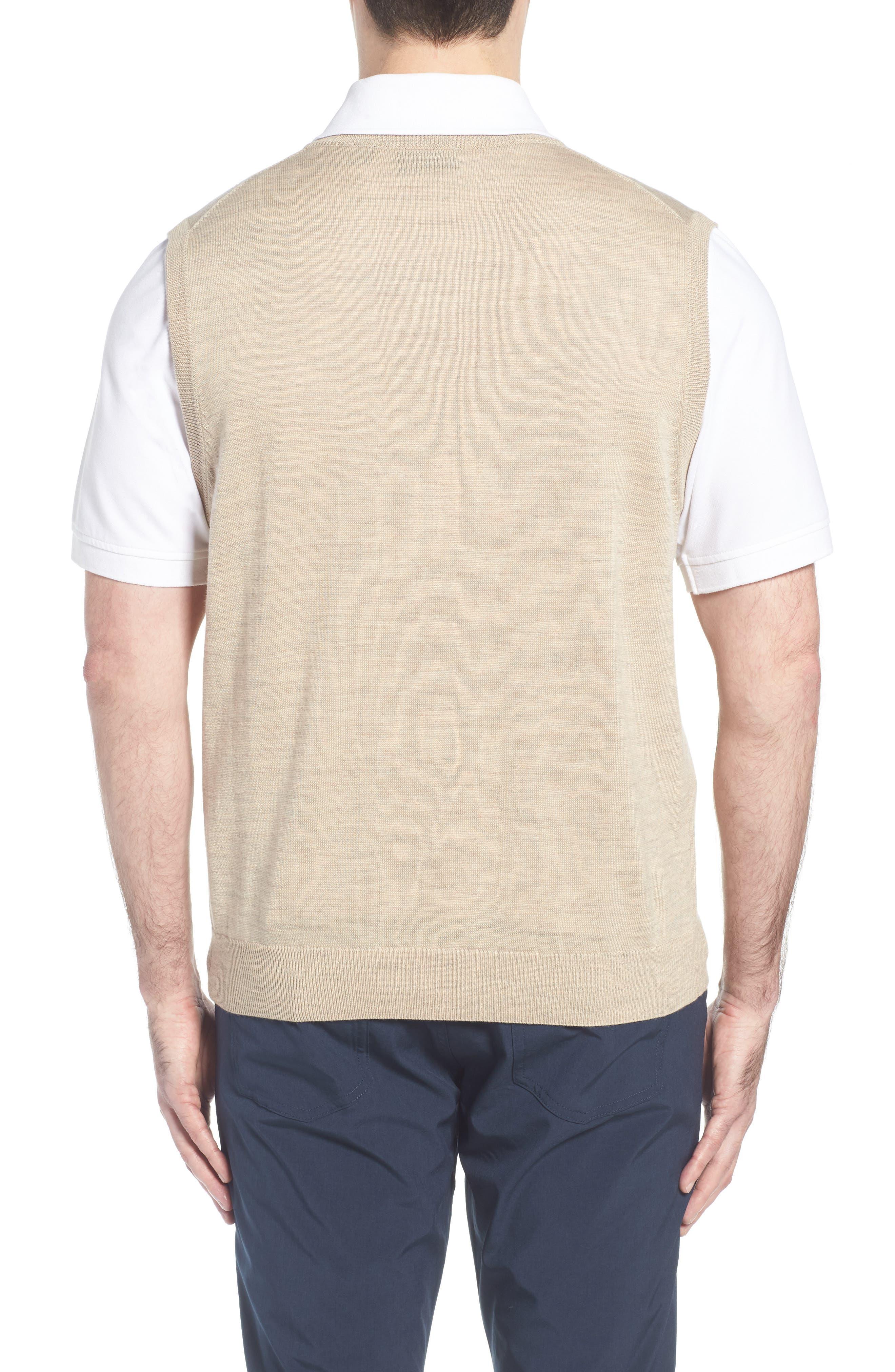 CUTTER & BUCK, 'Douglas' Merino Wool Blend V-Neck Sweater Vest, Alternate thumbnail 2, color, SAND HEATHER