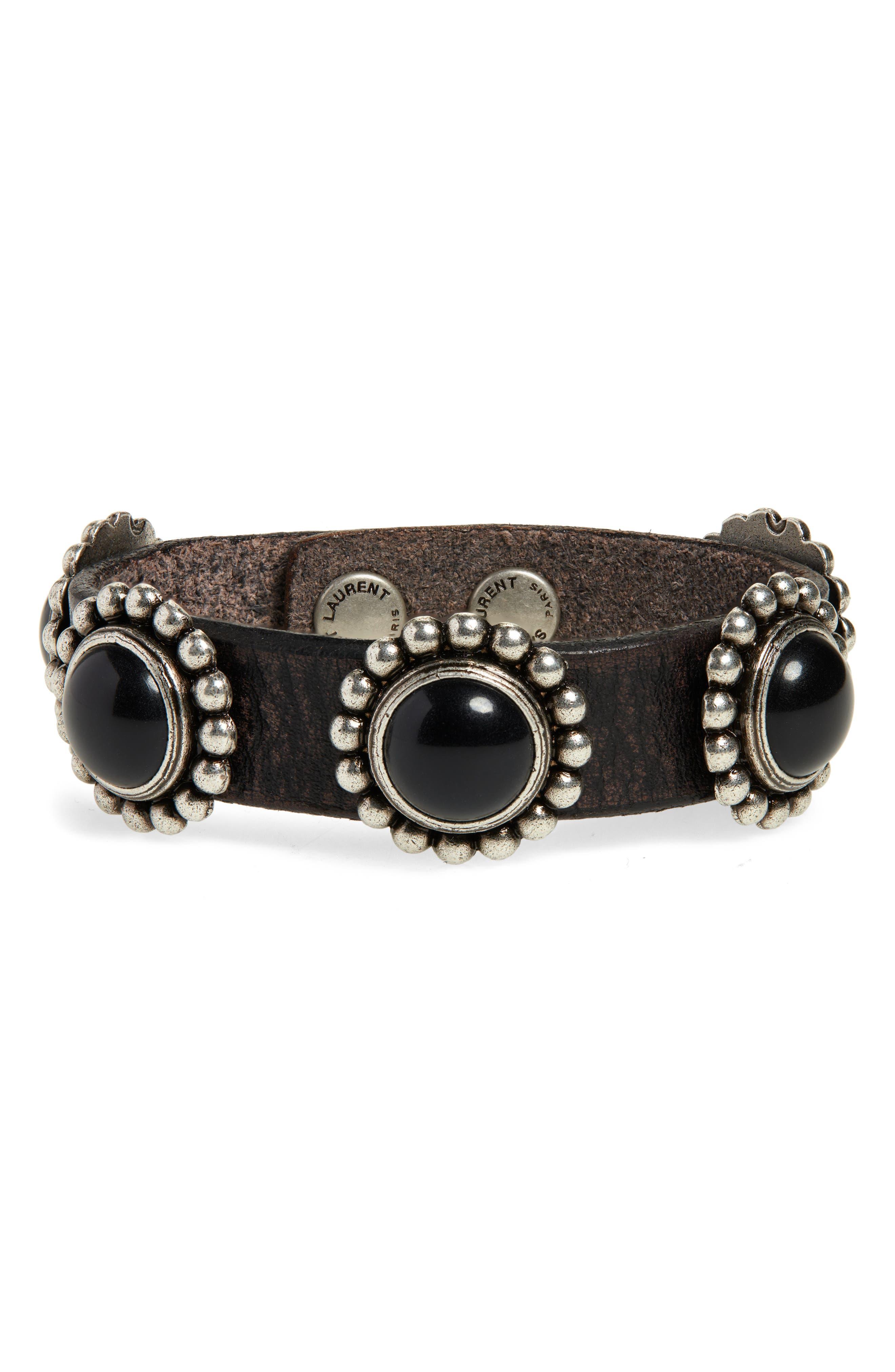 SAINT LAURENT Multi Cabochons Bracelet, Main, color, NERO/ MULTI