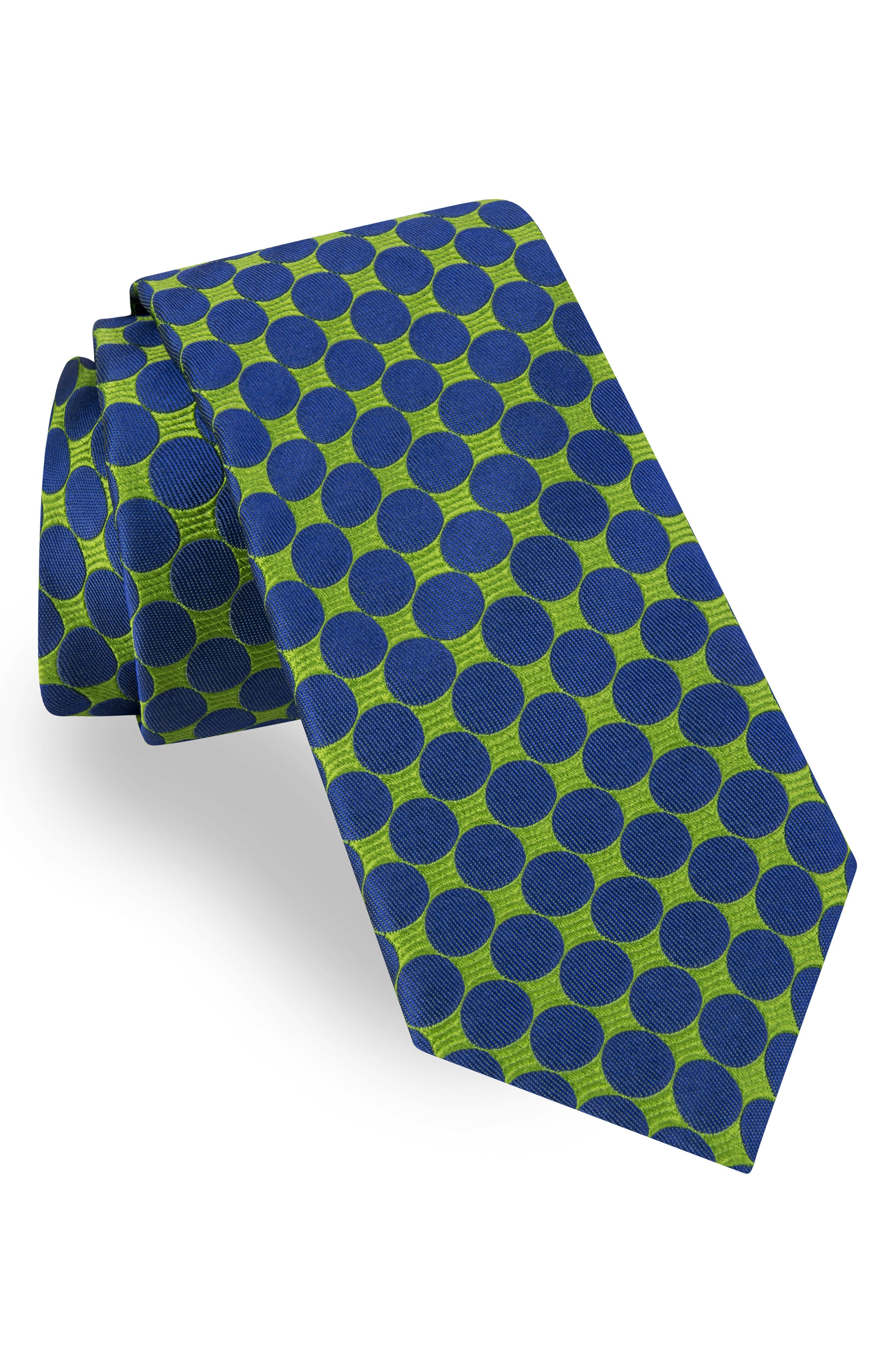 TED BAKER LONDON, Geometric Circle Silk Tie, Main thumbnail 1, color, GREEN