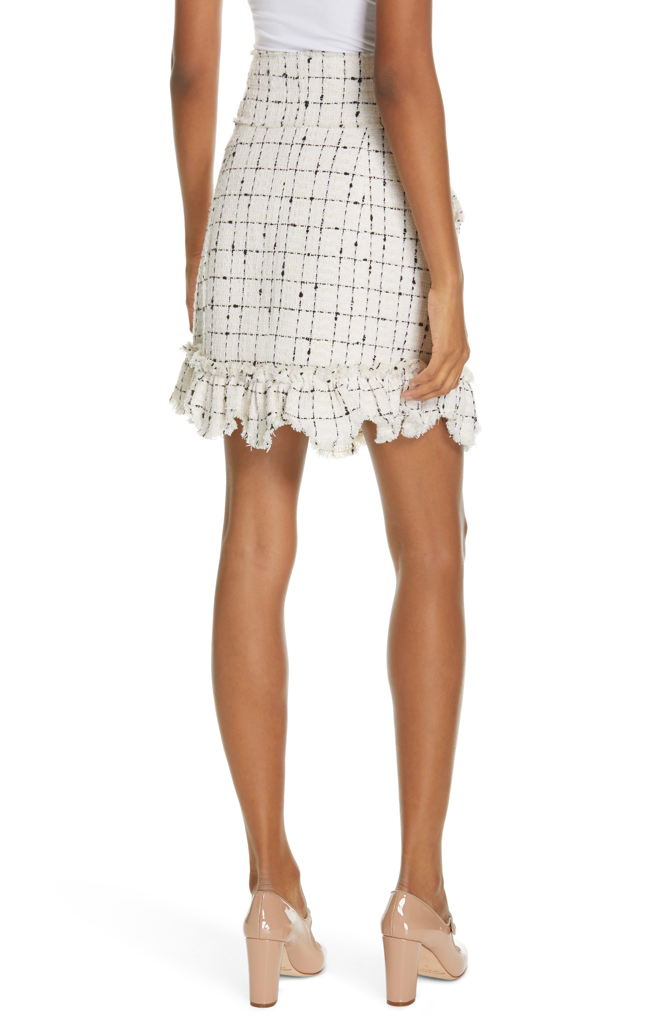 REBECCA TAYLOR, Scallop Hem Tweed Skirt, Alternate thumbnail 2, color, CREAM COMBO