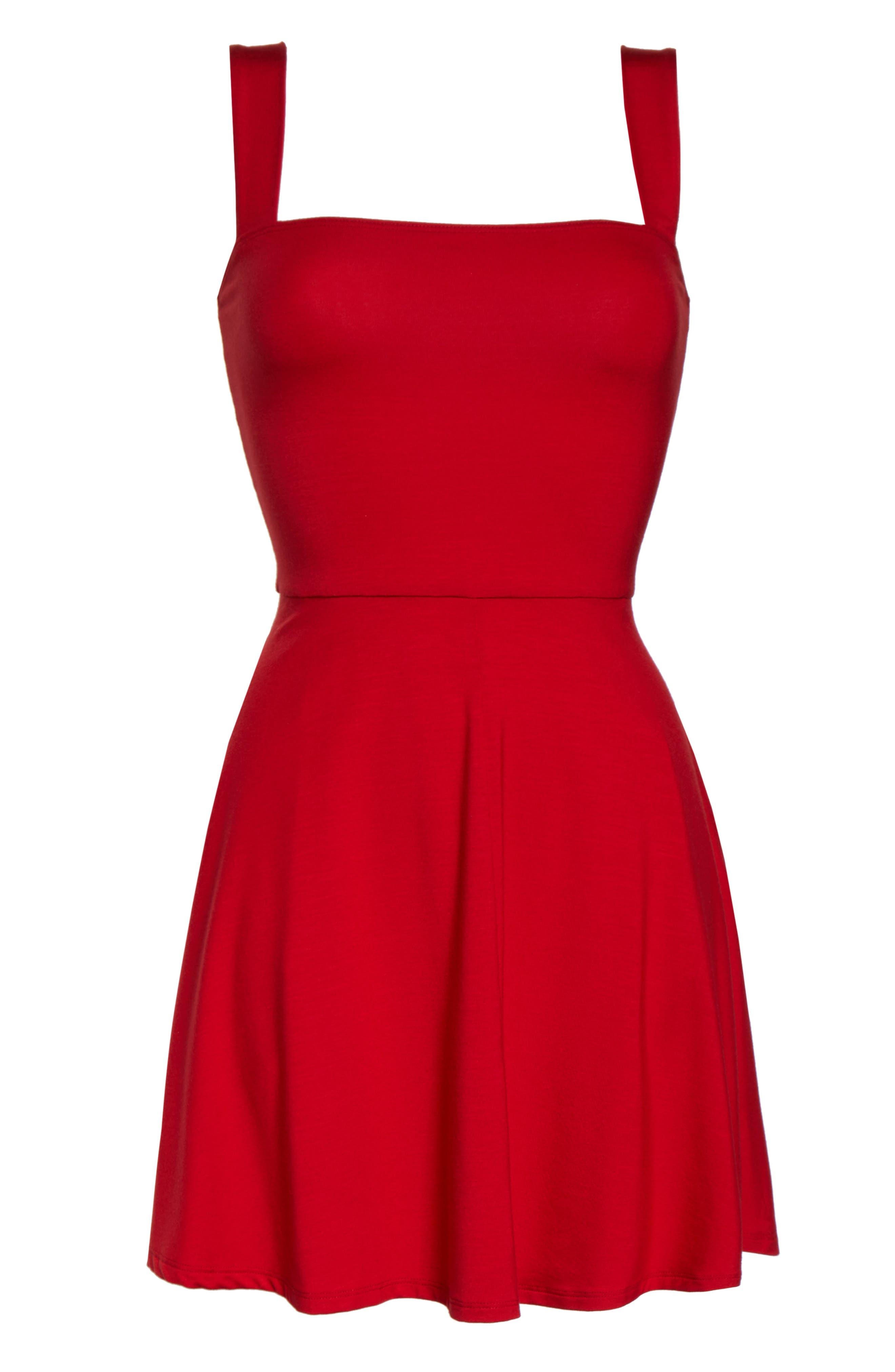 Reformation Anicka Square Neck Skater Dress, Red