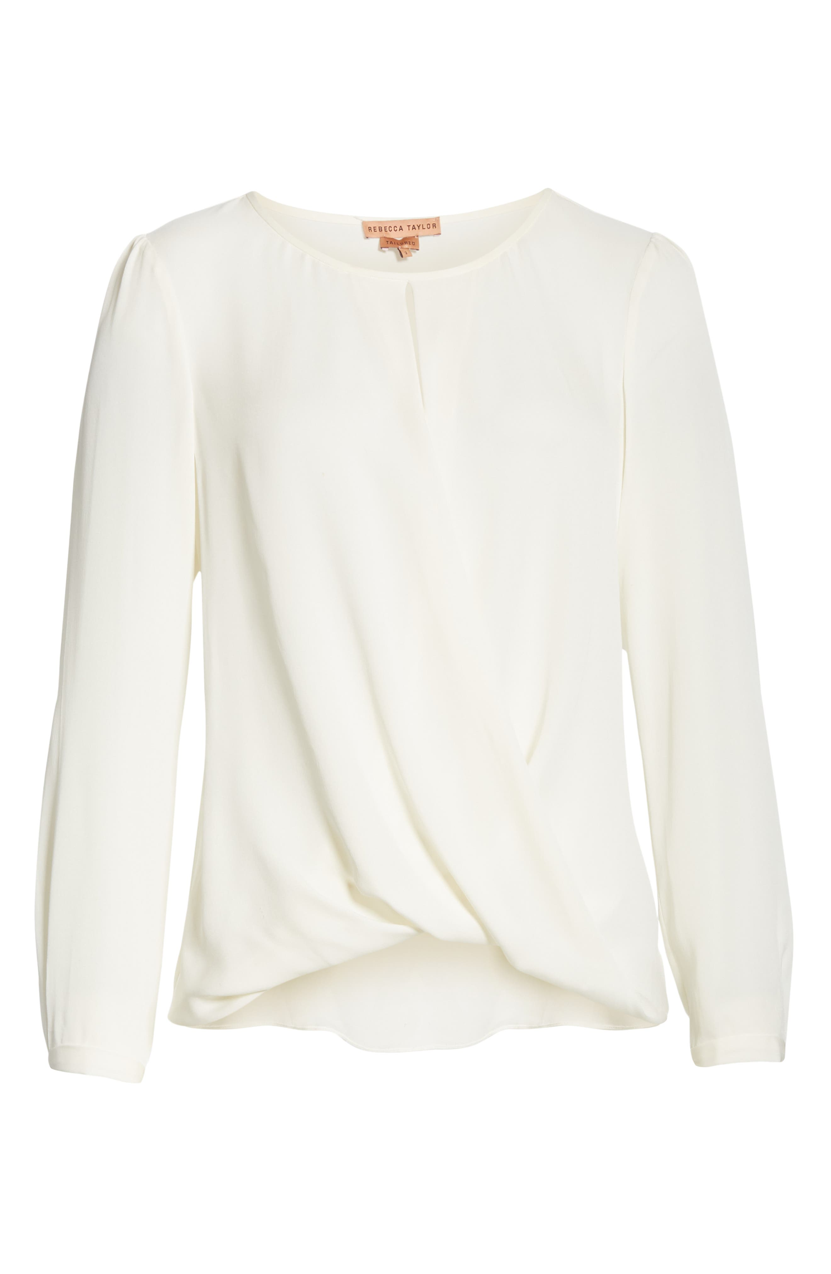 TAILORED BY REBECCA TAYLOR, Silk Georgette Top, Alternate thumbnail 6, color, SNOW