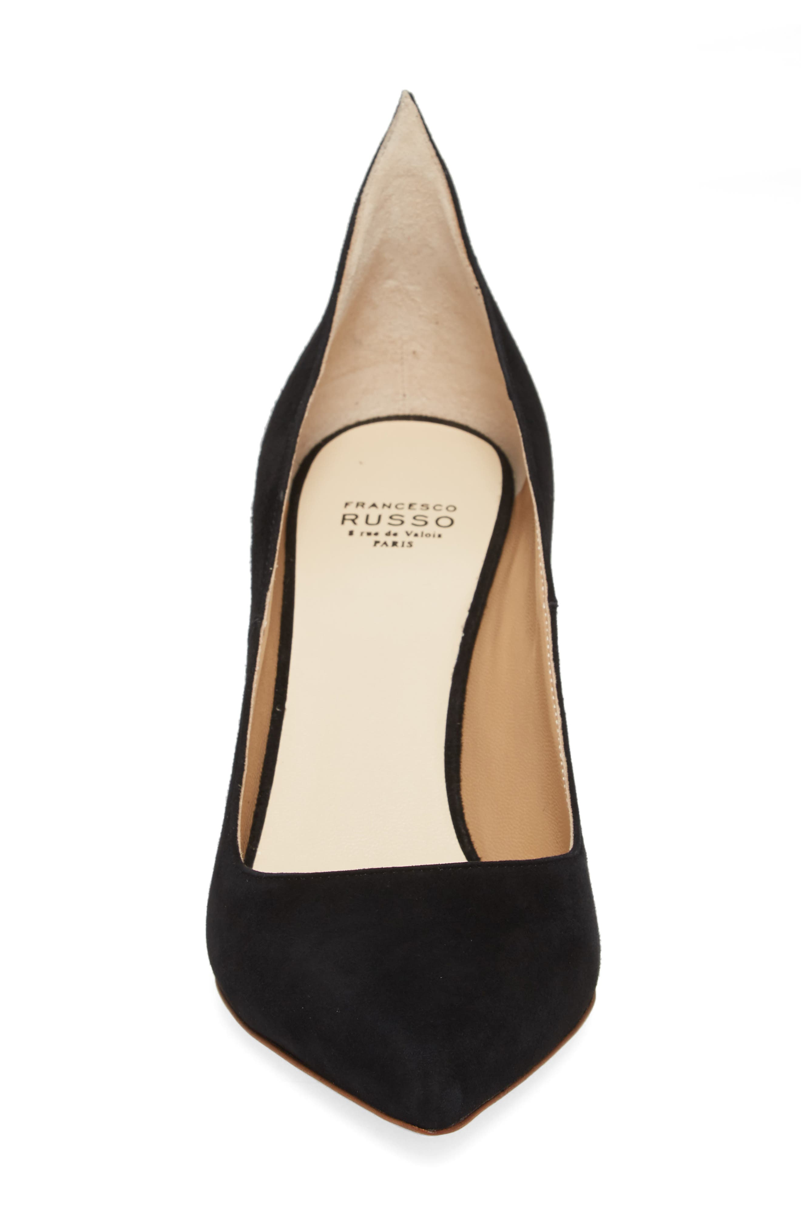 FRANCESCO RUSSO, Flame Pointy Toe Pump, Alternate thumbnail 4, color, BLACK
