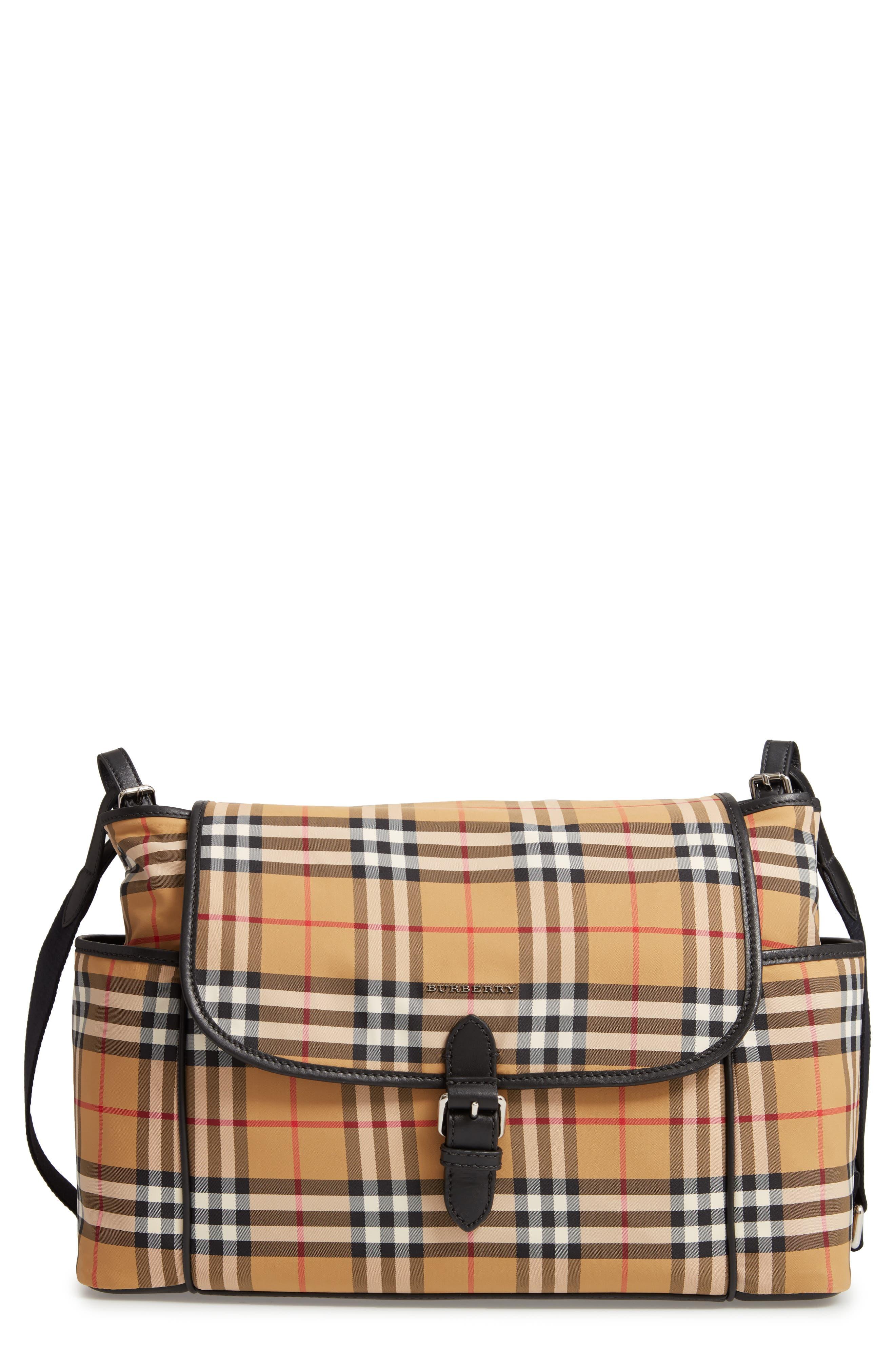 BURBERRY Flap Diaper Bag, Main, color, ANTIQUE YELLOW/ BLCK