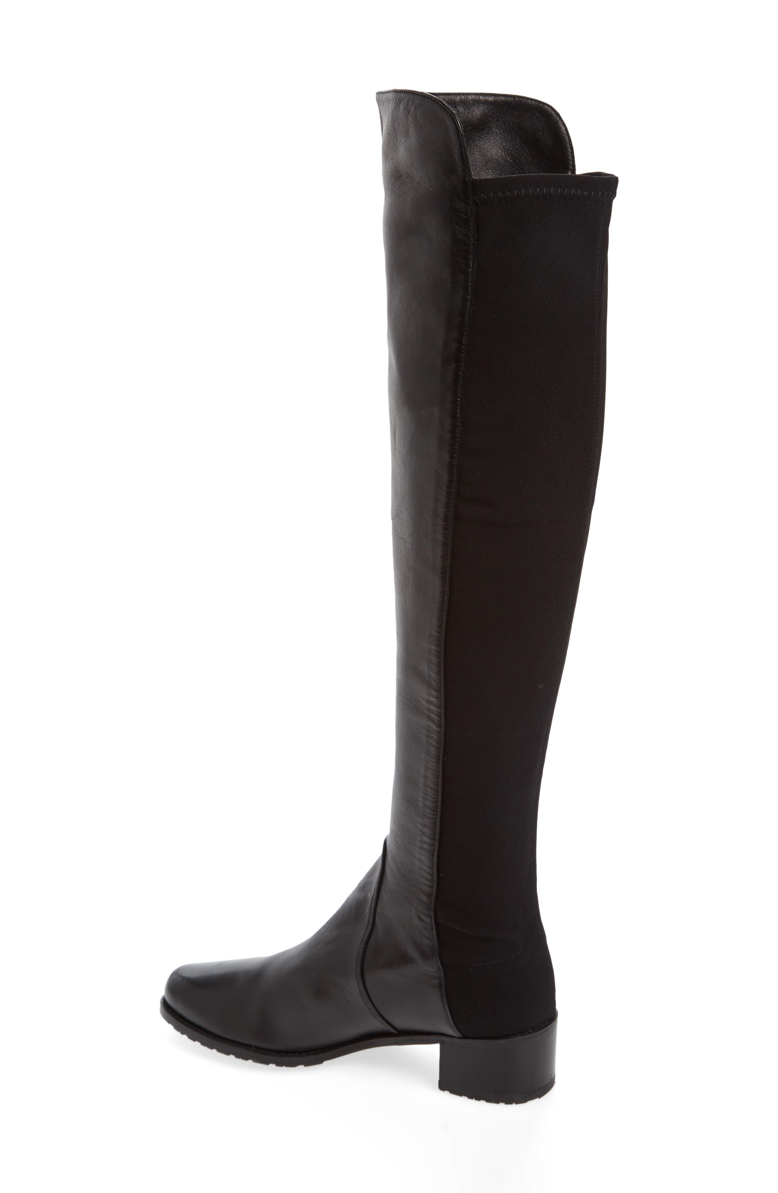 STUART WEITZMAN, 'Reserve' Over the Knee Boot, Alternate thumbnail 2, color, BLACK NAPPA