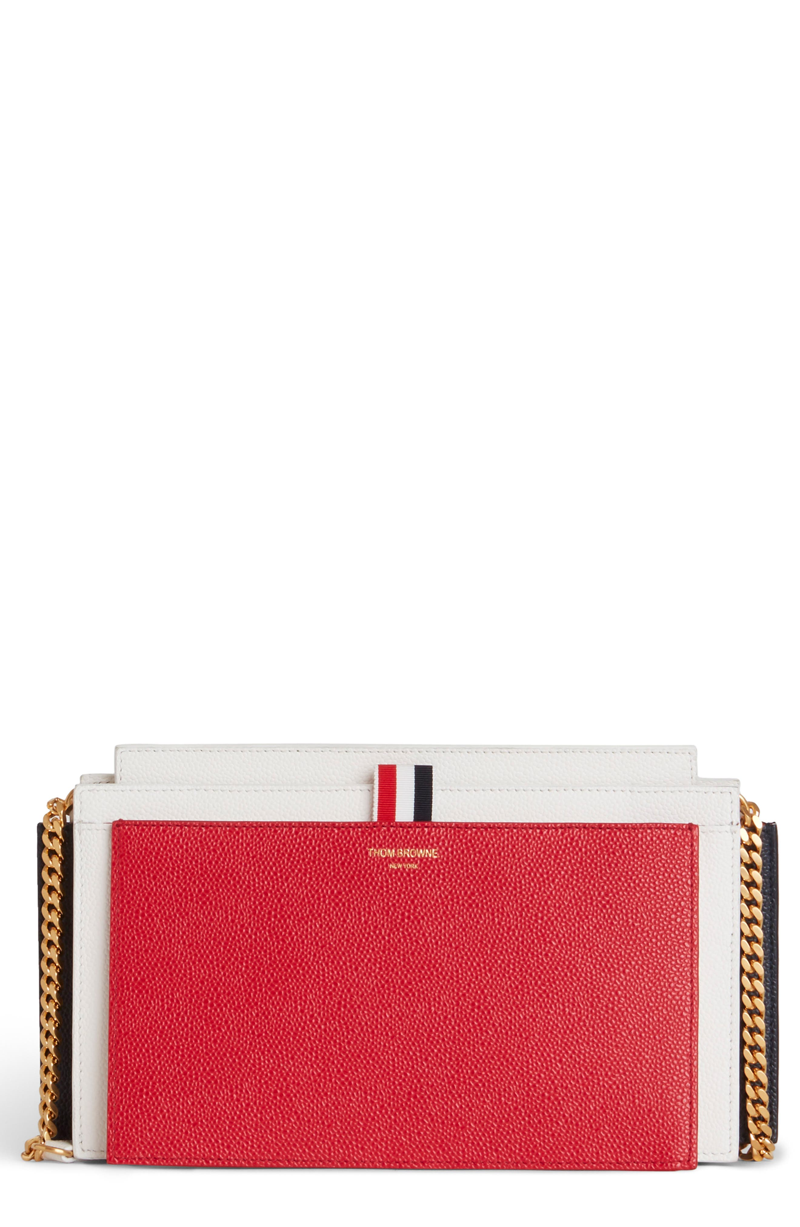 THOM BROWNE, Colorblock Leather Accordion Clutch, Main thumbnail 1, color, RED/ WHITE/ BLACK